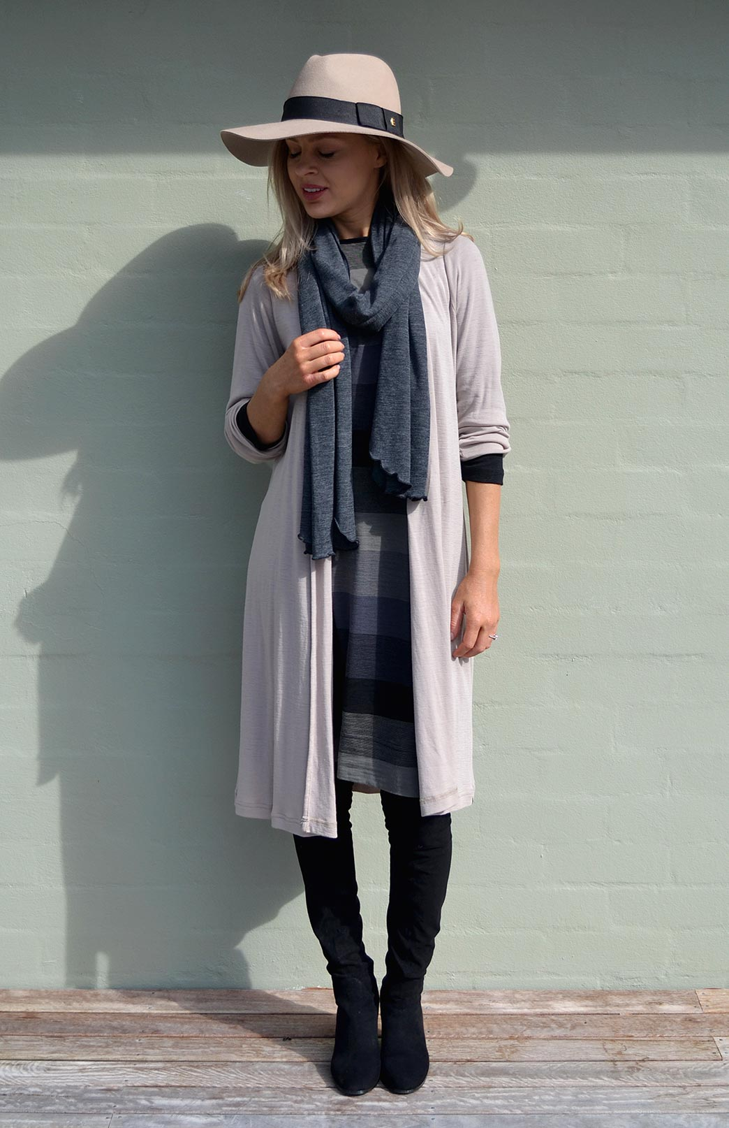 Long Drape Cardigan - Lightweight - Women's Stone Lightweight Merino Wool Long Drape - Smitten Merino Tasmania Australia