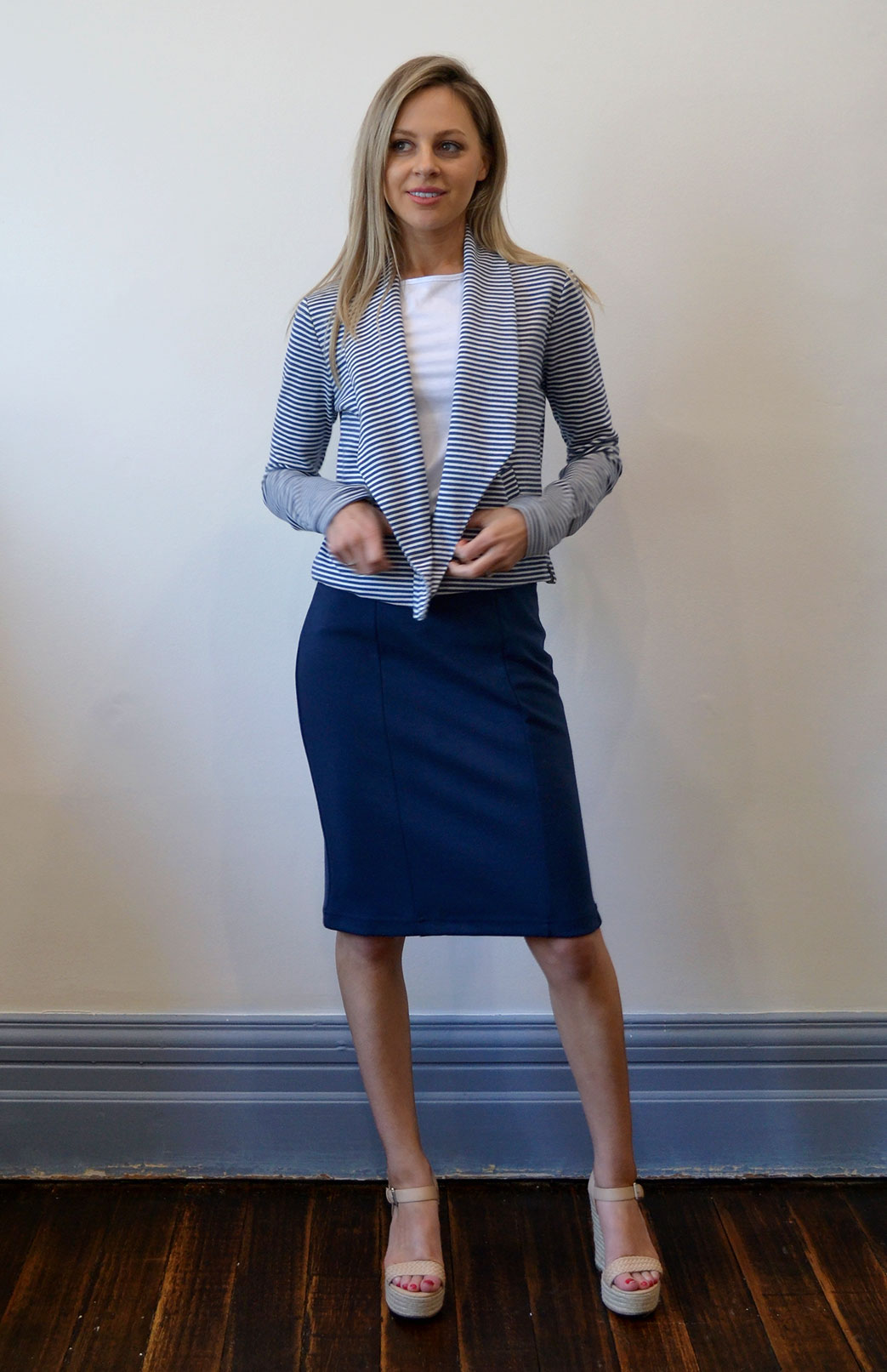 Straight Skirt - Women's Indigo Blue Wool Straight Skirt with front and side seams - Smitten Merino Tasmania Australia