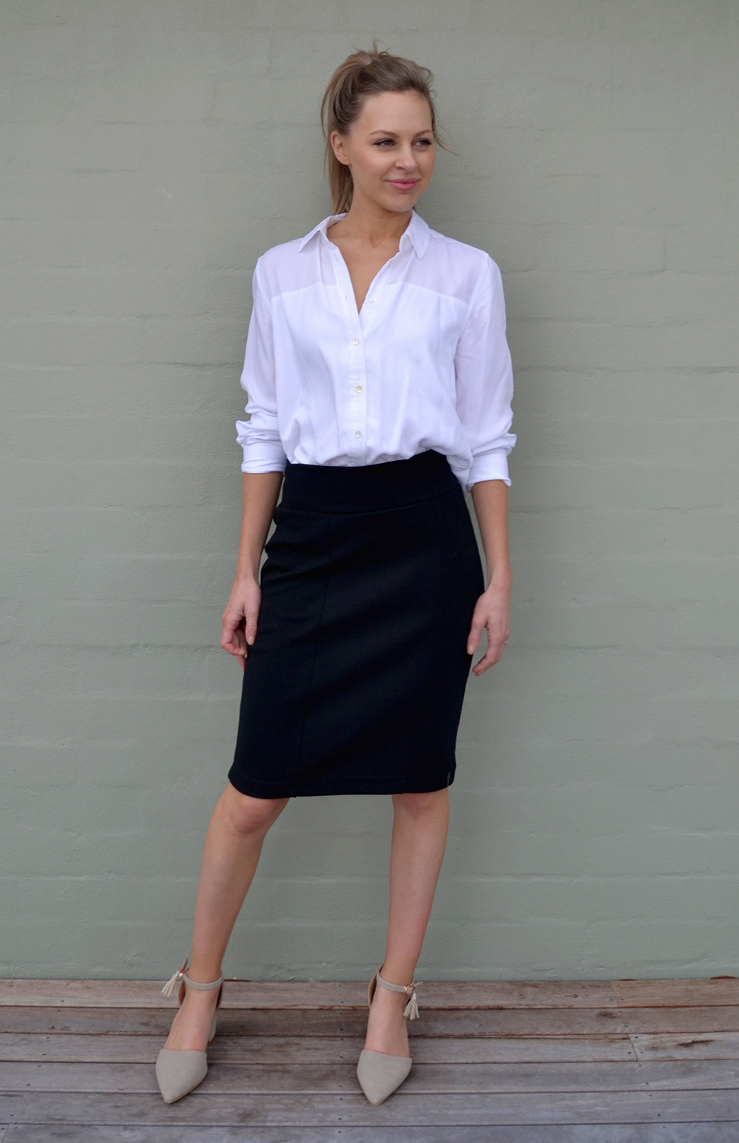 Straight Skirt - Women's Black Straight Office Wool Skirt - Smitten Merino Tasmania Australia