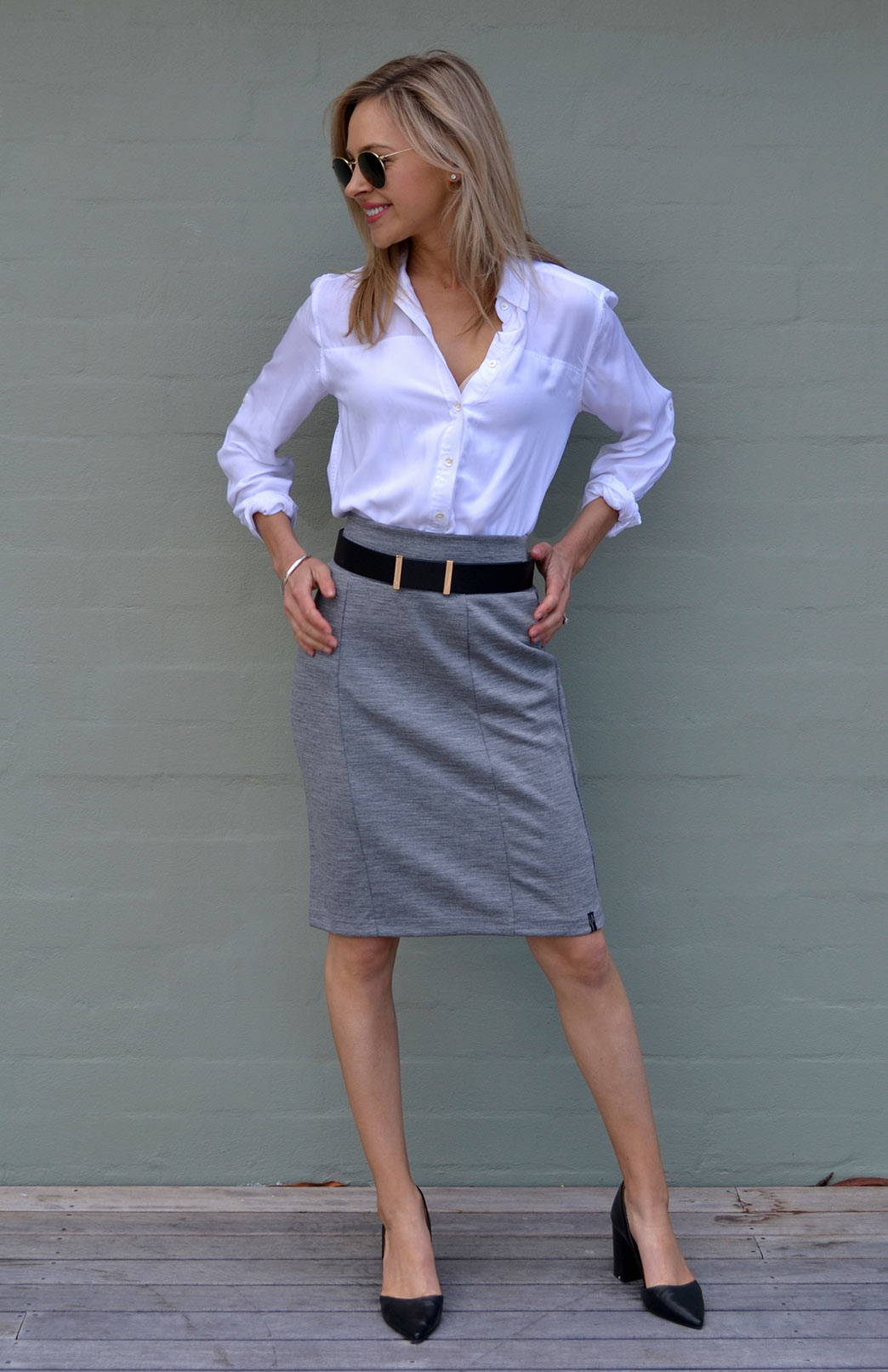 Straight Skirt - Women's Black Straight Office Wool Skirt - Smitten Merino Tasmania Australia