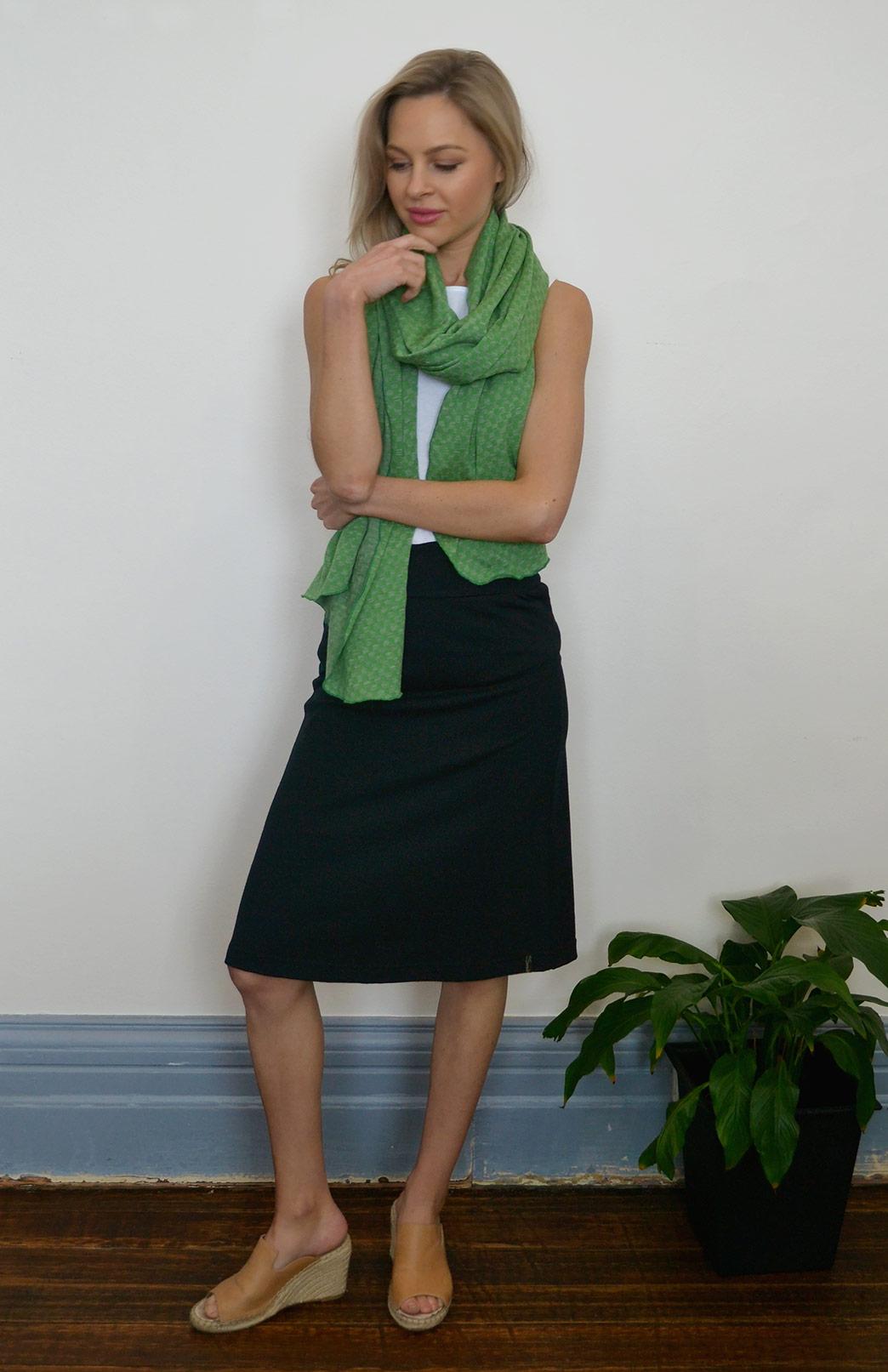 A-line Skirt - Women's Black A-Line Wool Skirt - Smitten Merino Tasmania Australia