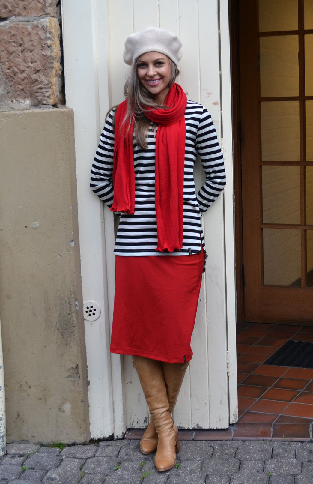A-line Skirt - Women's Red A-Line Wool Skirt with elastic waistband - Smitten Merino Tasmania Australia