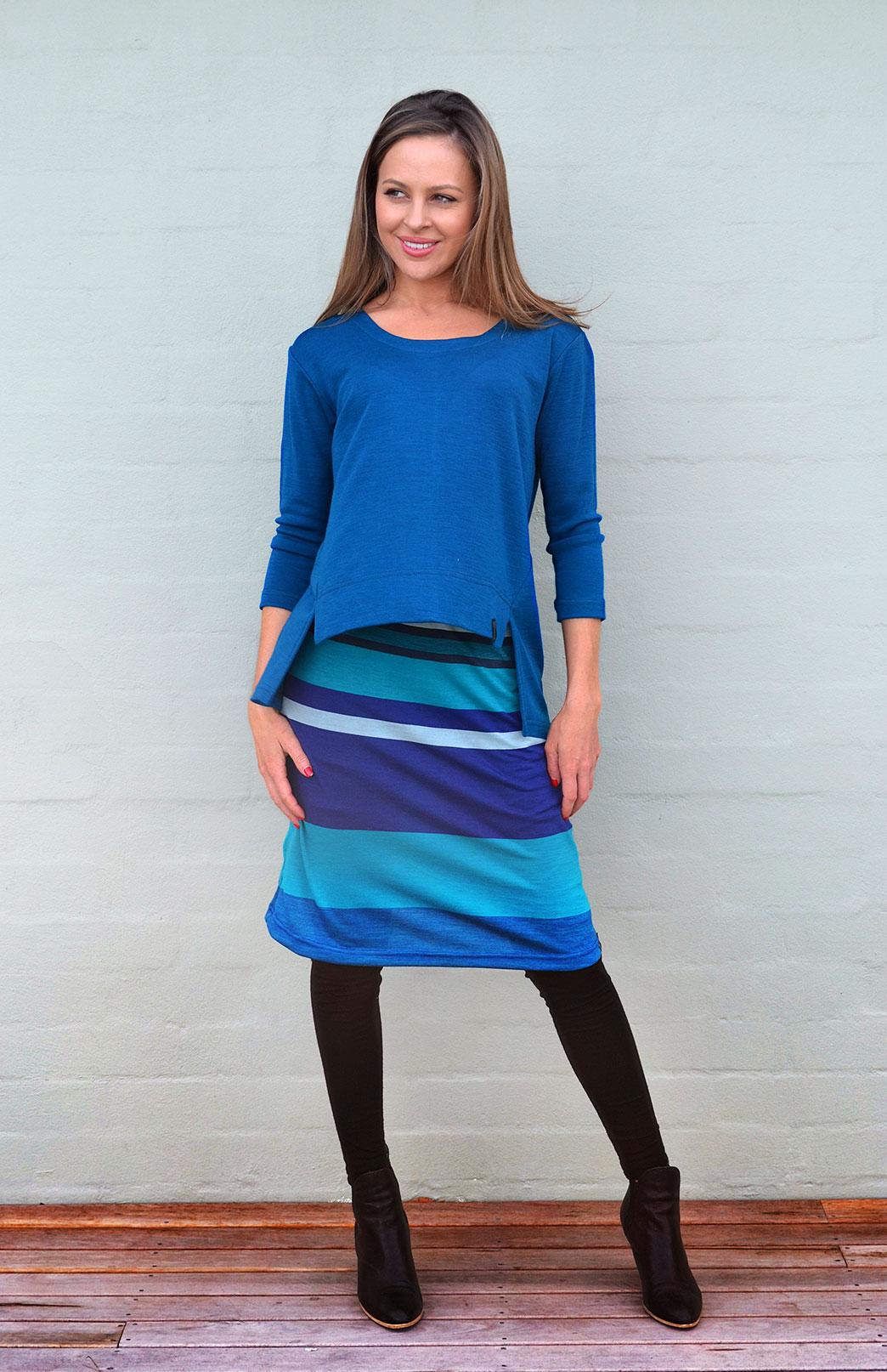 A-line Skirt - Women's Blue Multi Stripe A-Line Skirt with elastic waistband - Smitten Merino Tasmania Australia