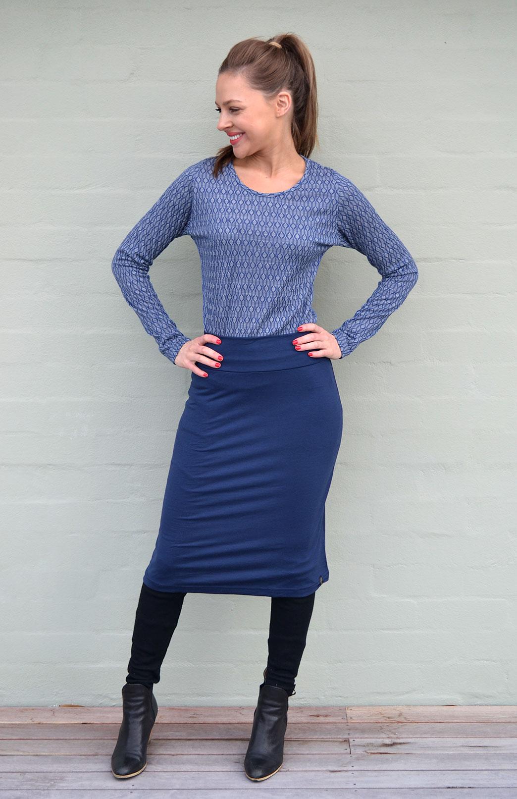Round Neck Top - Patterned - Women's Blue Keyhole Patterned Long Sleeve Merino Wool Thermal Fashion Top - Smitten Merino Tasmania Australia