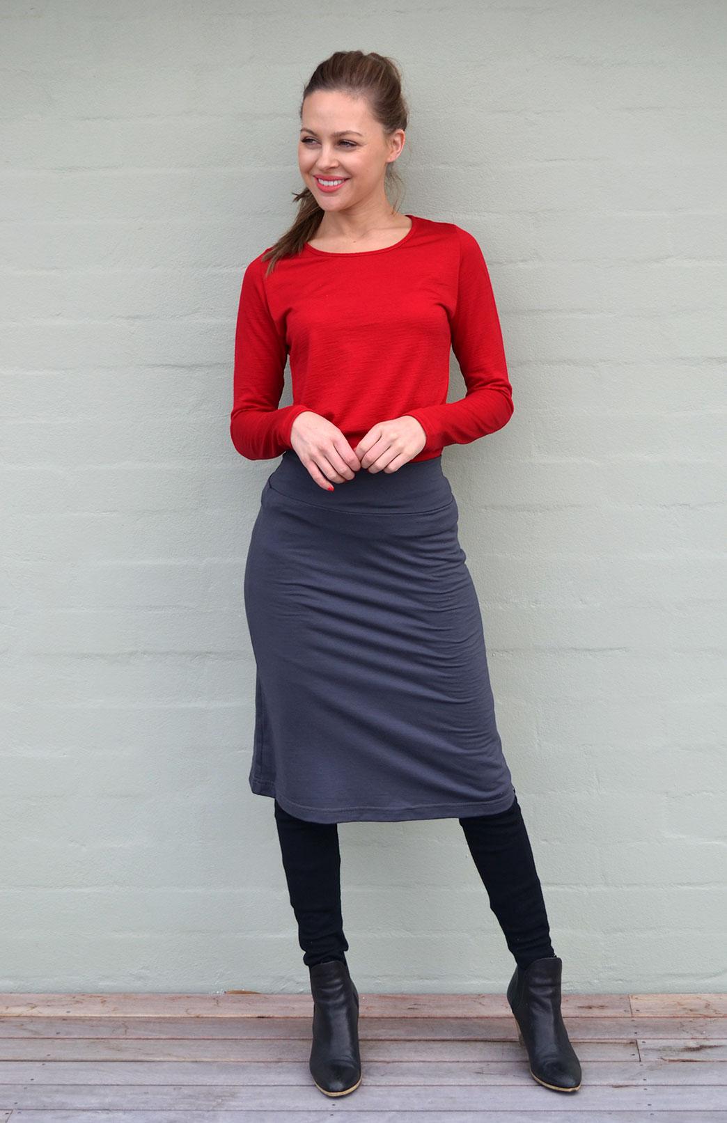 A-line Skirt - Women's Steel Grey Wool A-Line Skirt with elastic waistband - Smitten Merino Tasmania Australia