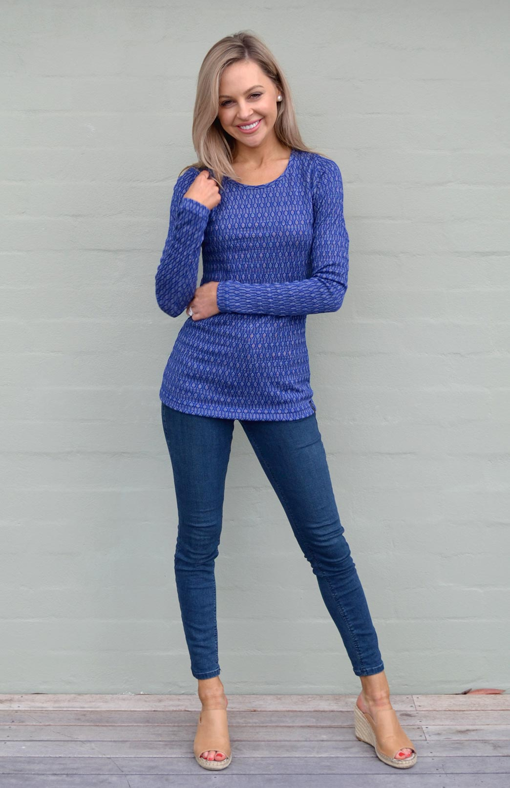 Round Neck Top - Patterned - Women's Dark Royal Blue Keyhole Patterned Long Sleeve Merino Wool Thermal Fashion Top - Smitten Merino Tasmania Australia