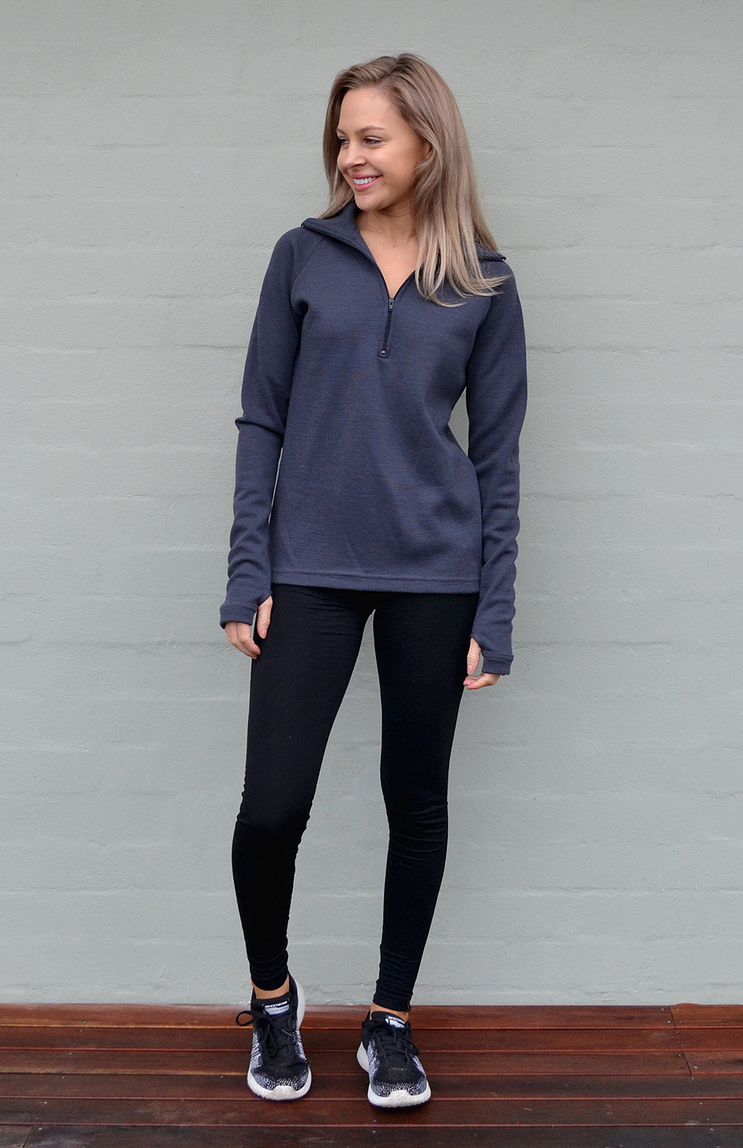 Zip Neck Top - Heavyweight (360g) - Women's Merino Wool Steel Grey Heavyweight Zip Neck Pullover Style Thermal Top - Smitten Merino Tasmania Australia