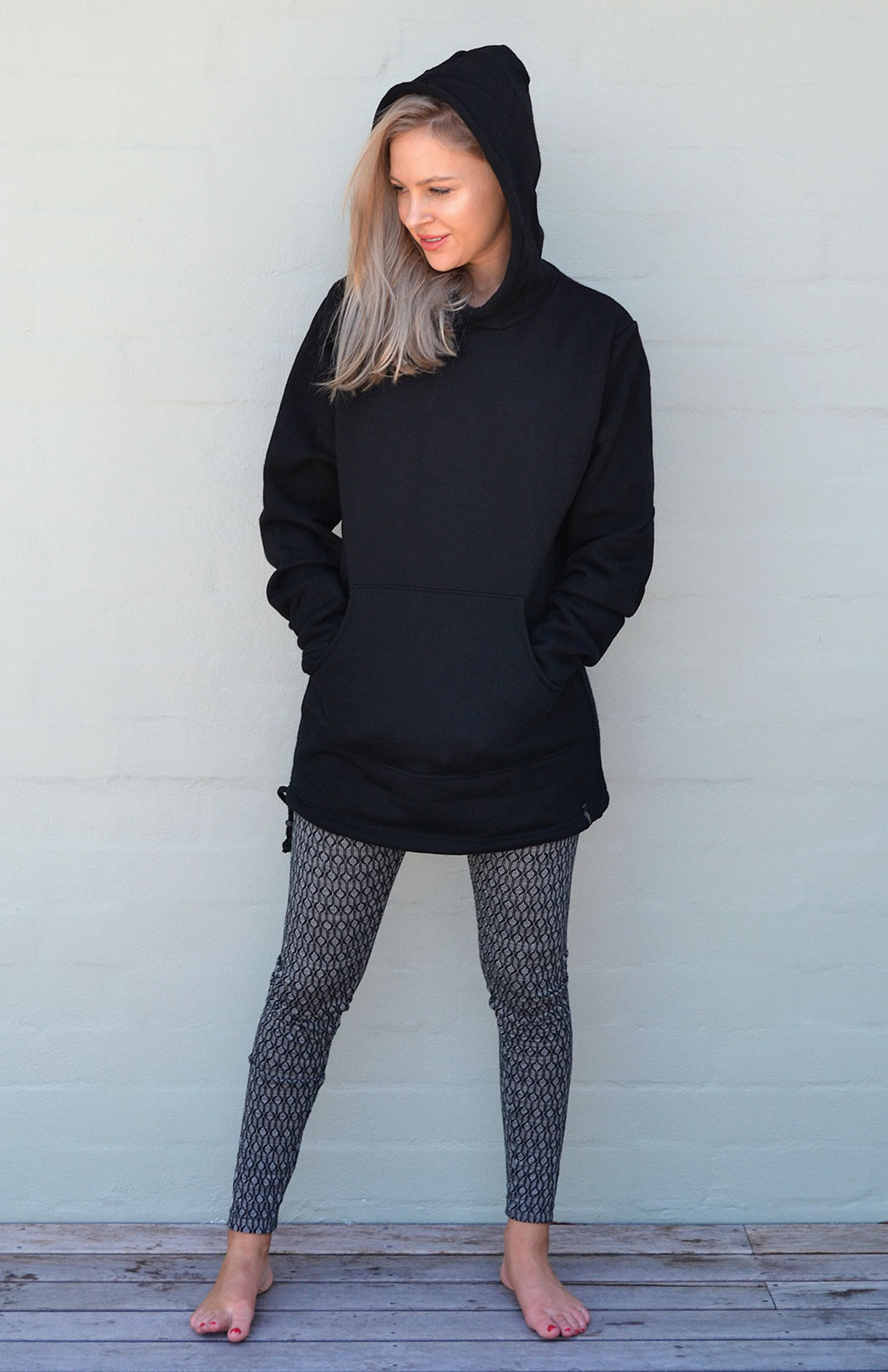 Wool Fleece Hoody (~350g) - Women's Black Wool Fleece Hoody Jacket with ties and kangaroo pocket - Smitten Merino Tasmania Australia