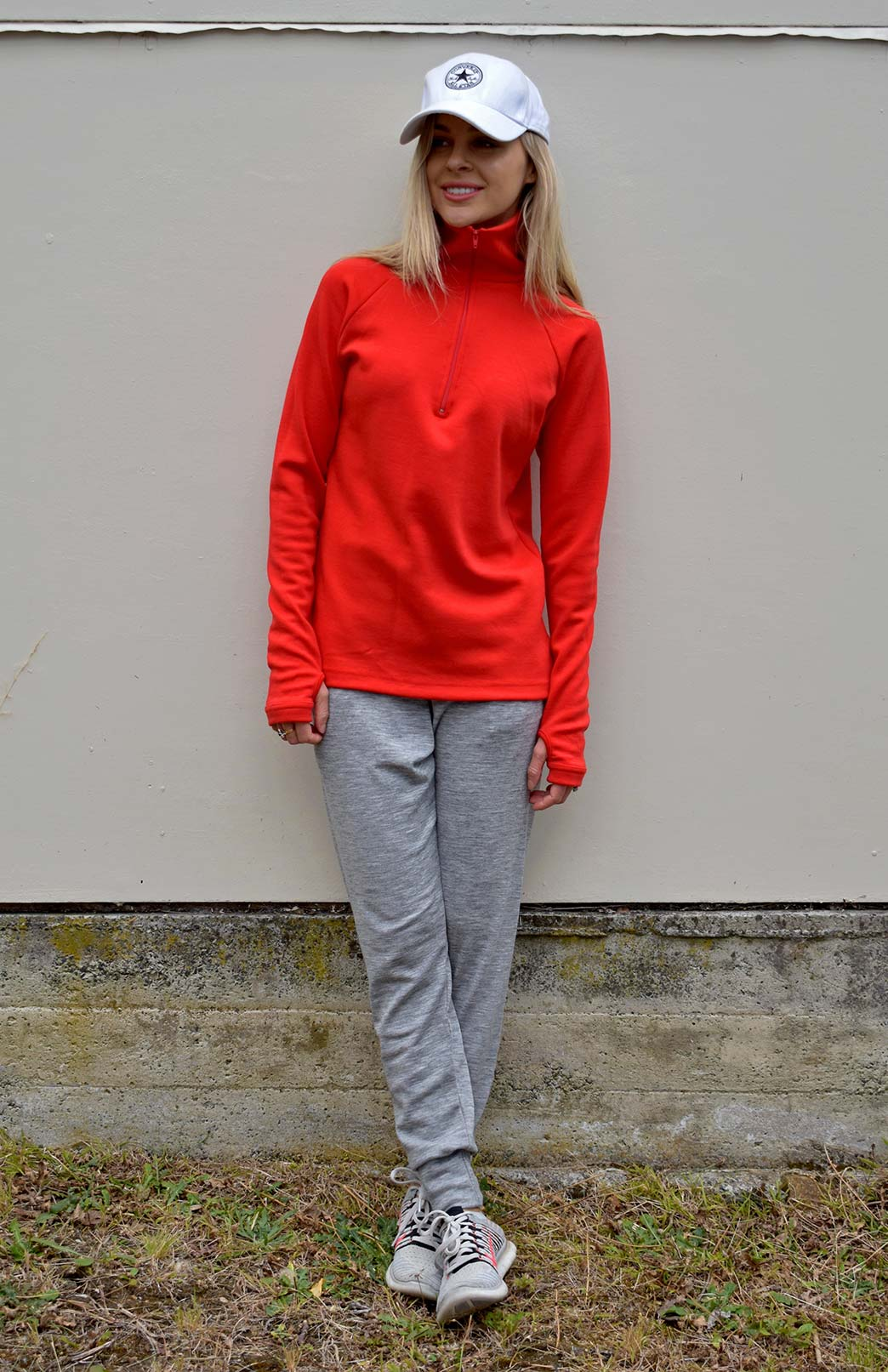 Zip Neck Top - Heavyweight (360g) - Women's Merino Wool Poppy Red Heavyweight Zip Neck Pullover Style Thermal Top - Smitten Merino Tasmania Australia