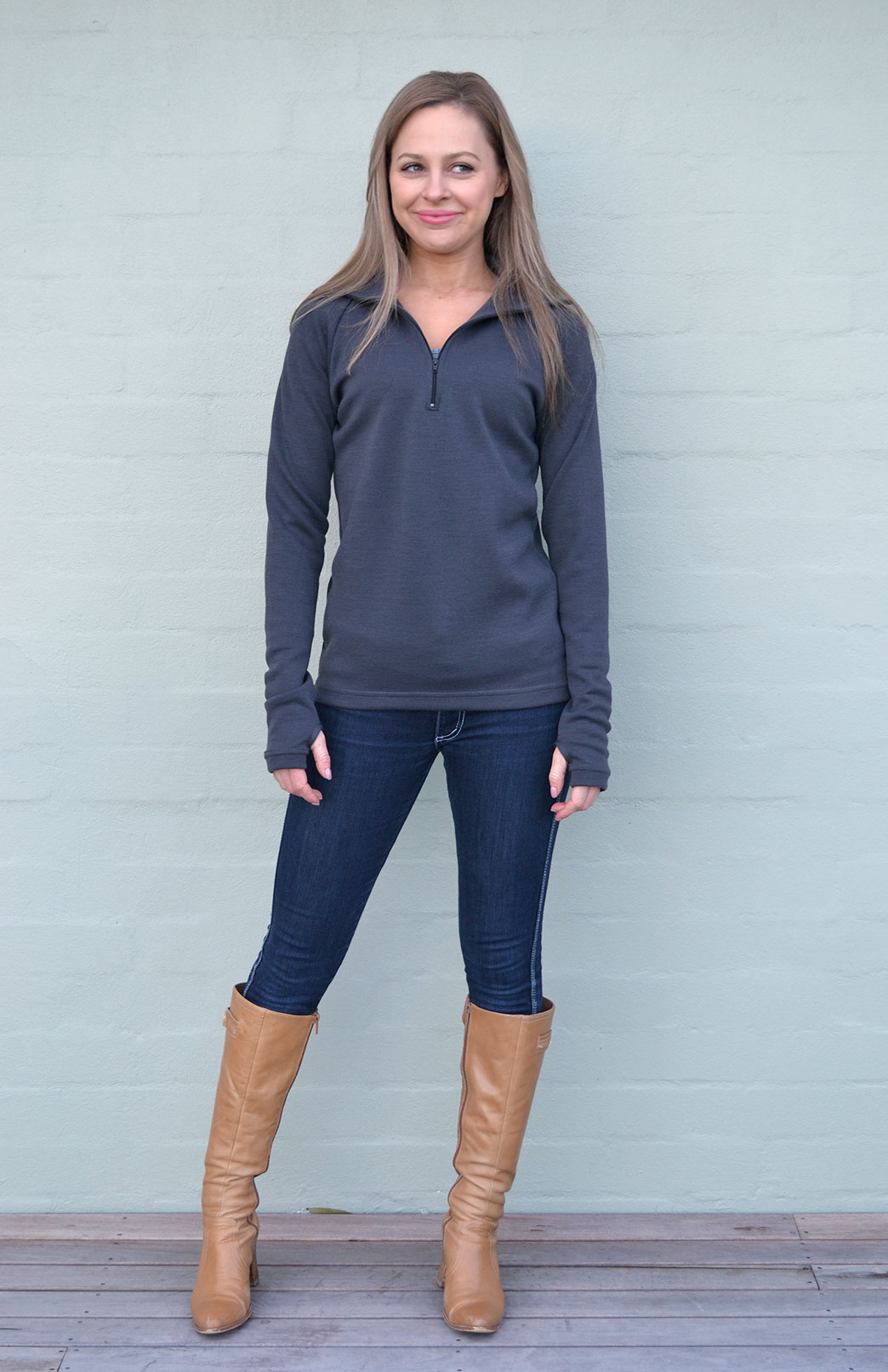 Women's Zip Neck Top - 360g in Steel
