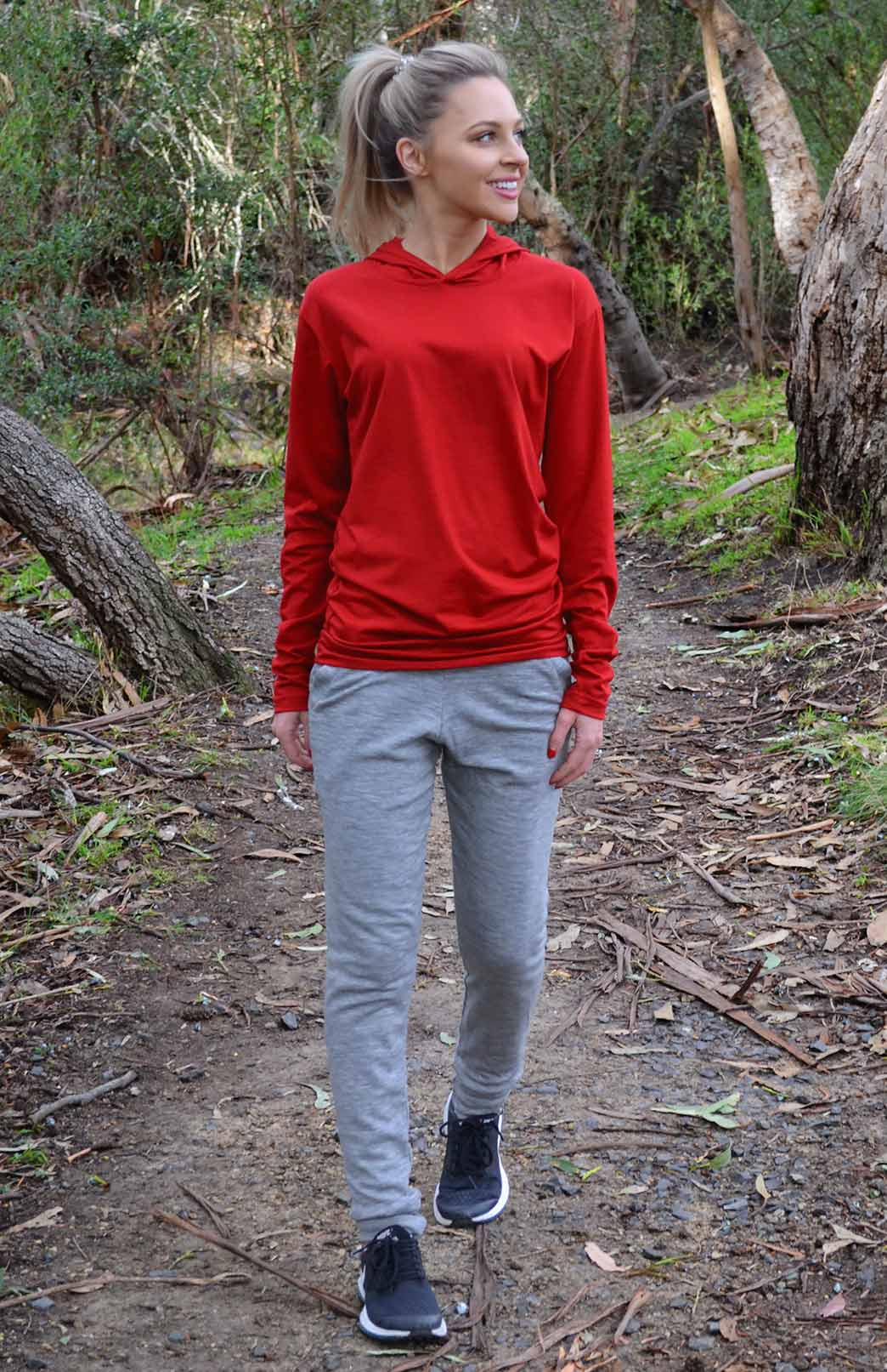 Crew Hoody (200g) - Women's Lightweight 200g Wool Long Sleeved Crew Neck Top with hood - Smitten Merino Tasmania Australia