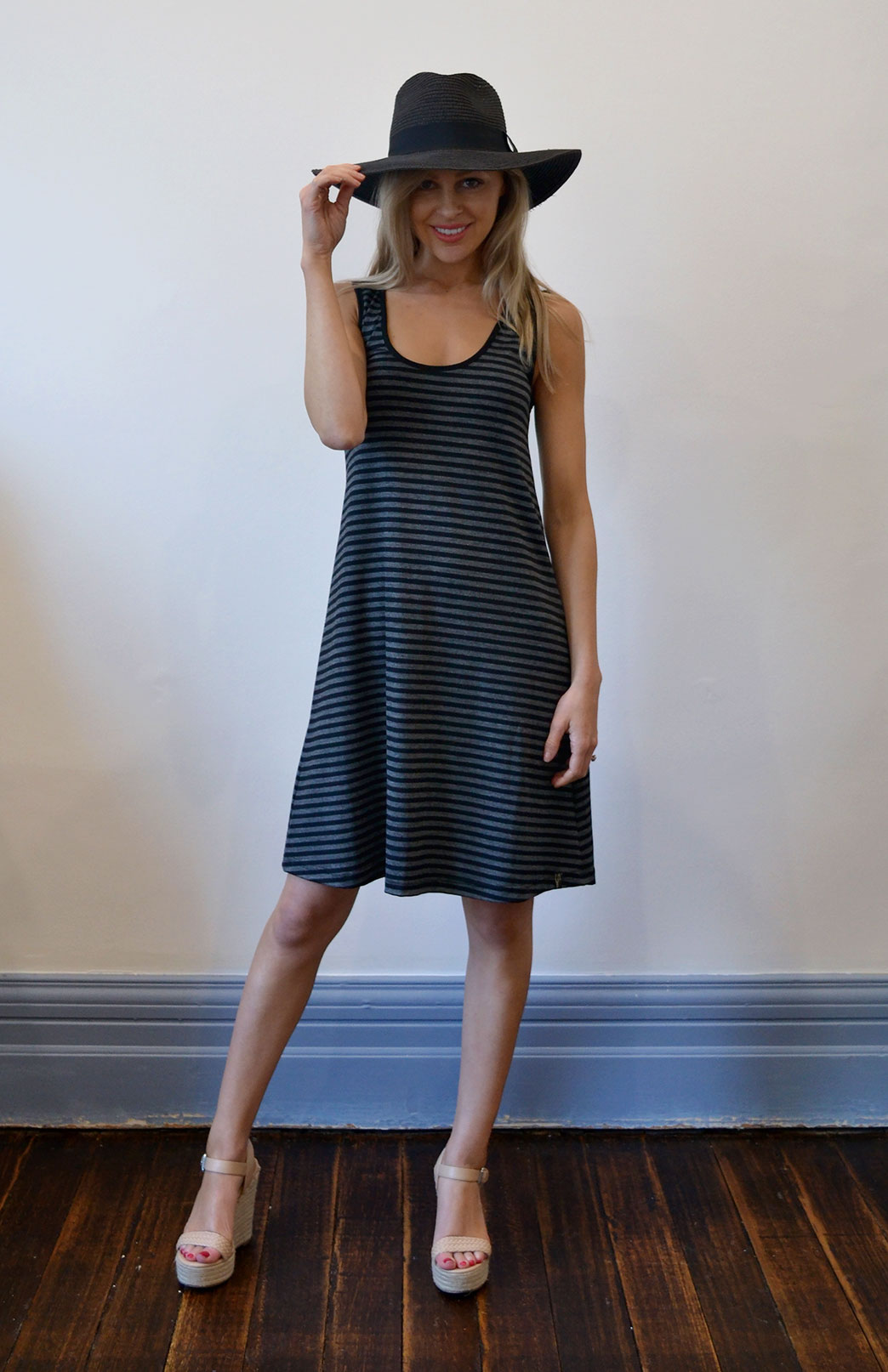 Classic Swing Dress - Women's Black & Grey Sleeveless Merino Wool Swing Dress - Smitten Merino Tasmania Australia