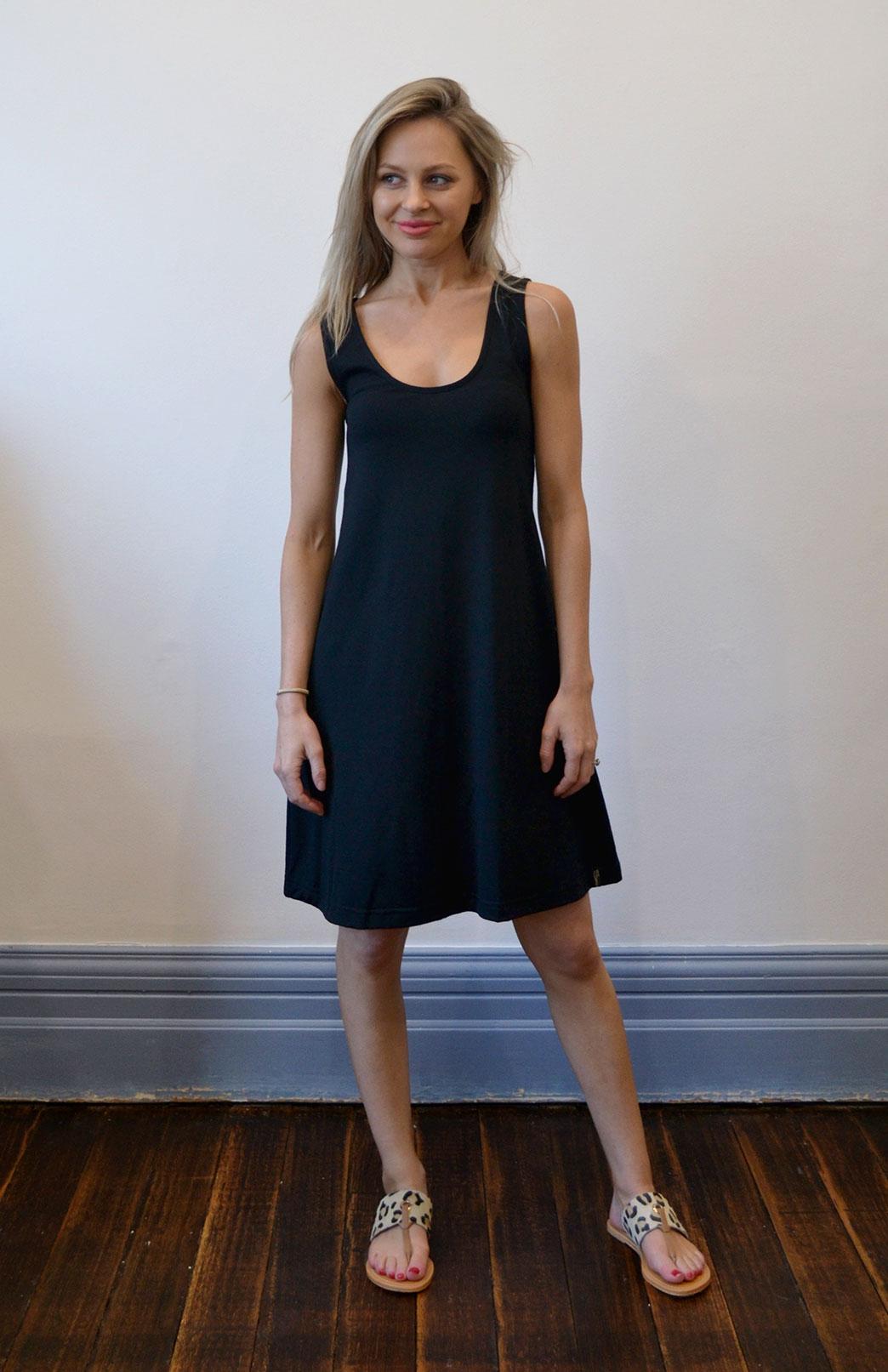 Classic Swing Dress - Women's Black Sleeveless Merino Wool Swing Dress - Smitten Merino Tasmania Australia
