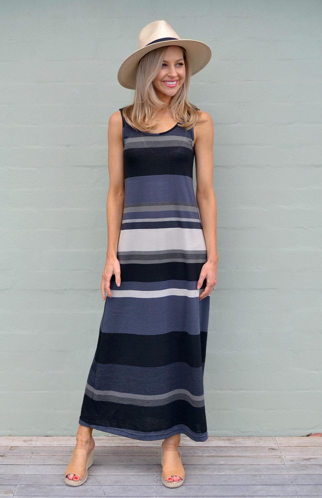 Maxi Dress - Multi Striped - Women's Merino Wool Black and Grey Multi Striped Maxi Dress with Scoop Neckline - Smitten Merino Tasmania Australia