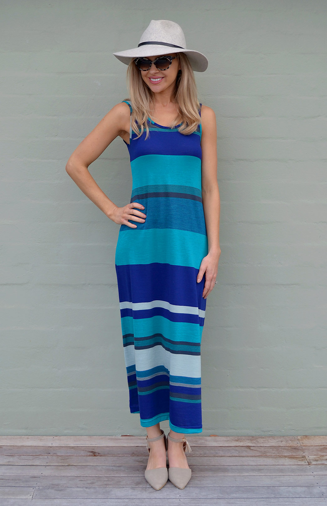 Maxi Dress - Multi Striped - Women's Merino Wool Blue and Teal Multi Striped Maxi Dress with Scoop Neckline - Smitten Merino Tasmania Australia