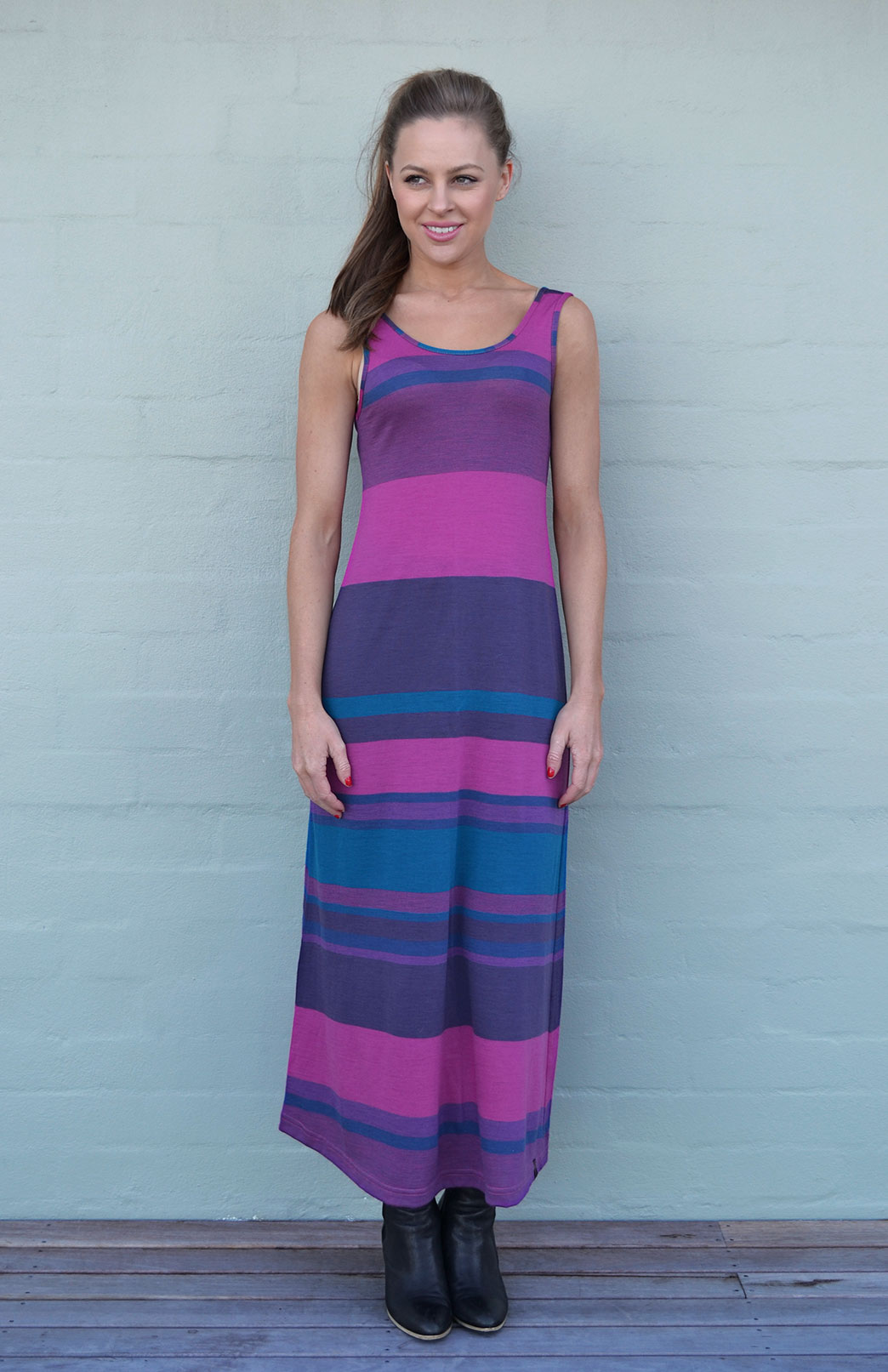 Maxi Dress - Multi Striped - Women's Merino Wool Pink and Purple Multi Striped Maxi Dress with Scoop Neckline - Smitten Merino Tasmania Australia