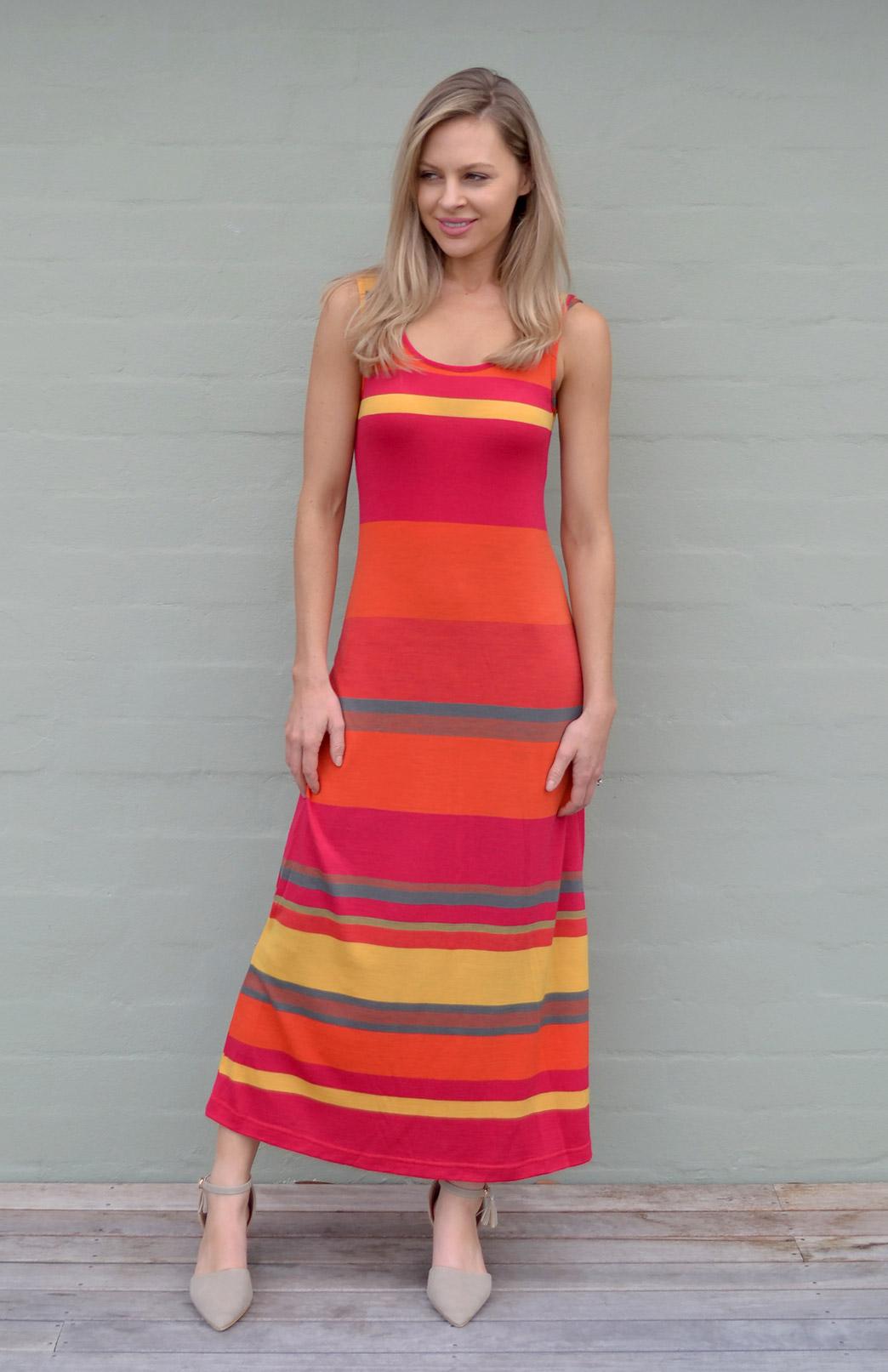 Maxi Dress - Multi Striped - Women's Merino Wool Orange and Yellow Multi Striped Maxi Dress with Scoop Neckline - Smitten Merino Tasmania Australia