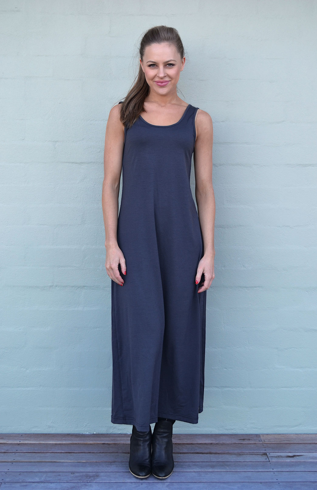 Maxi Dress - Plain - Women's Merino Wool Steel Grey Maxi Dress with Scoop Neckline - Smitten Merino Tasmania Australia