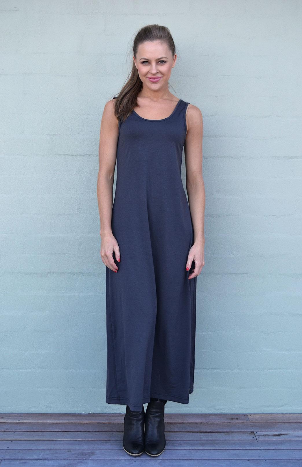 Maxi Dress - Plain - Women's Merino Wool Steel Grey Maxi Dress with Scoop Neckline - Smitten Merino Tasmania Australia