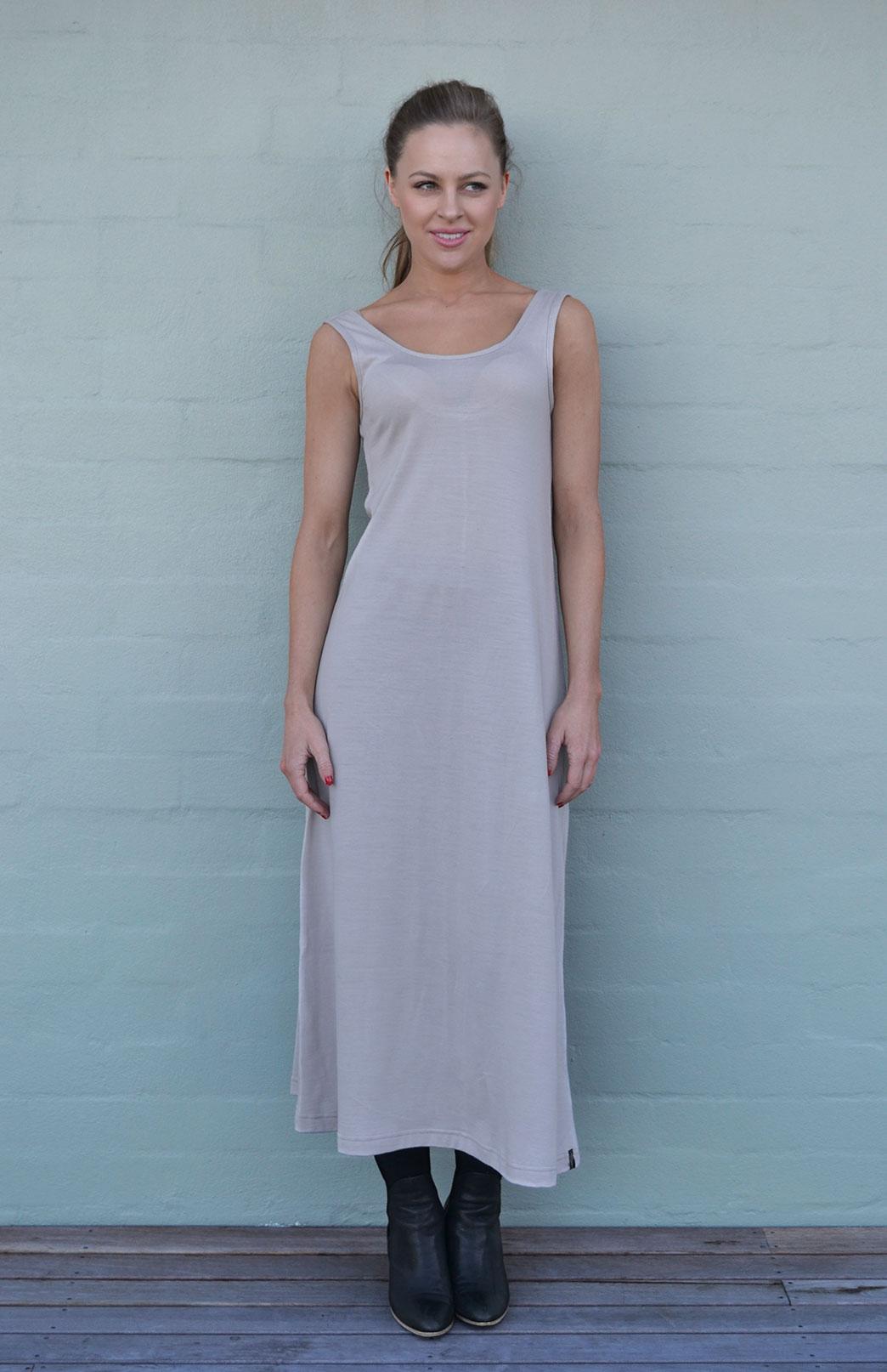 Maxi Dress - Plain - Women's Merino Wool Stone Maxi Dress with Scoop Neckline - Smitten Merino Tasmania Australia