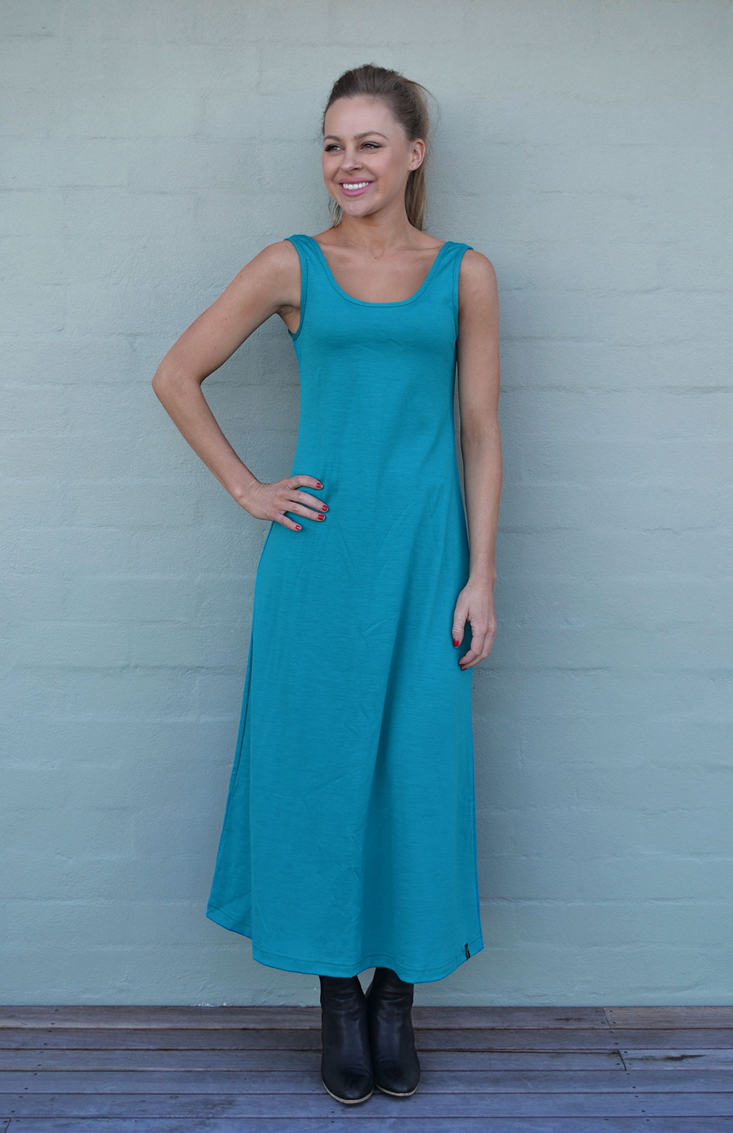 Maxi Dress - Plain - Women's Merino Wool Turquoise Maxi Dress with Scoop Neckline - Smitten Merino Tasmania Australia