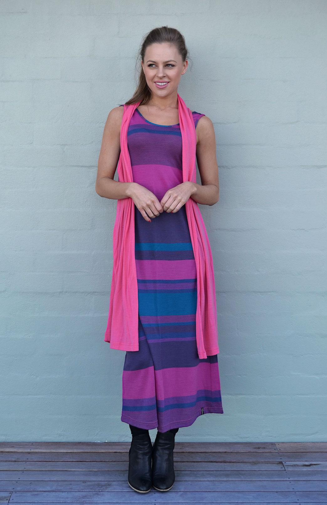 Sleeveless Long Drape Cardigan - Women's Merino Wool Sleeveless Drape Cardigan - Smitten Merino Tasmania Australia