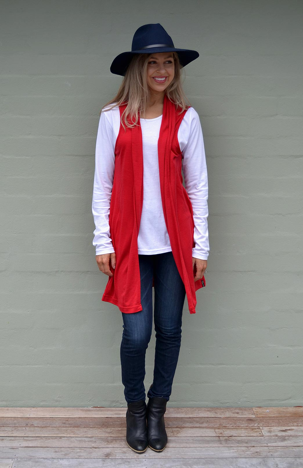 Sleeveless Drape Cardigan - Women's Flame Red Merino Wool Sleeveless Drape Cardigan with no buttons or fastenings - Smitten Merino Tasmania Australia