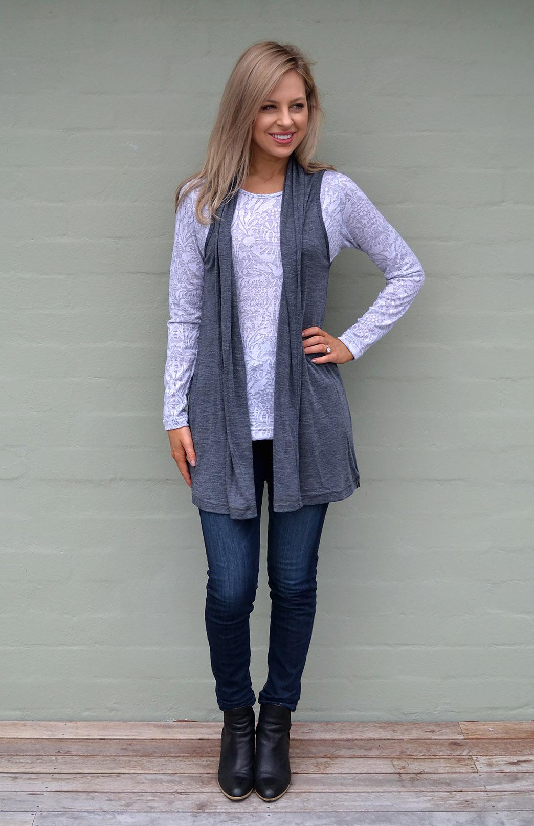 9a9ef62b8e86e Sleeveless Drape Cardigan - Women s Merino Wool Sleeveless Drape Cardigan -  Smitten Merino Tasmania Australia