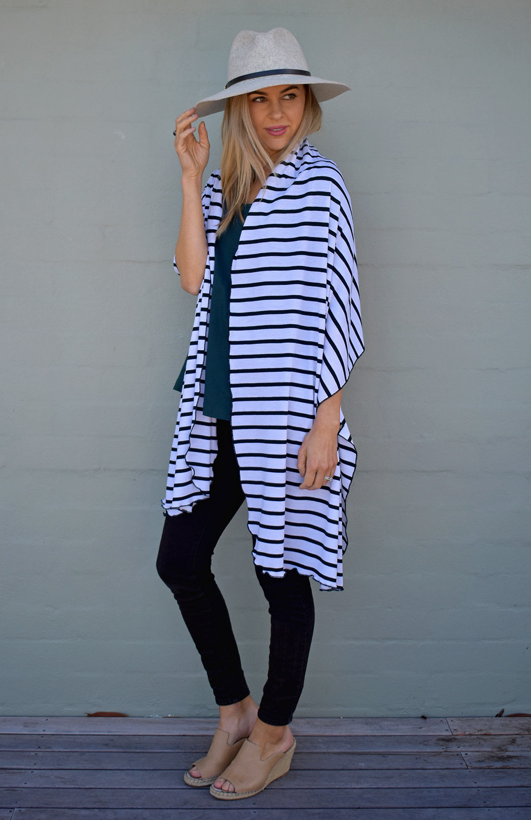 Scarves - Patterned - Women's White & Black French Stripe Wide Merino Wool Wrap or Scarf - Smitten Merino Tasmania Australia