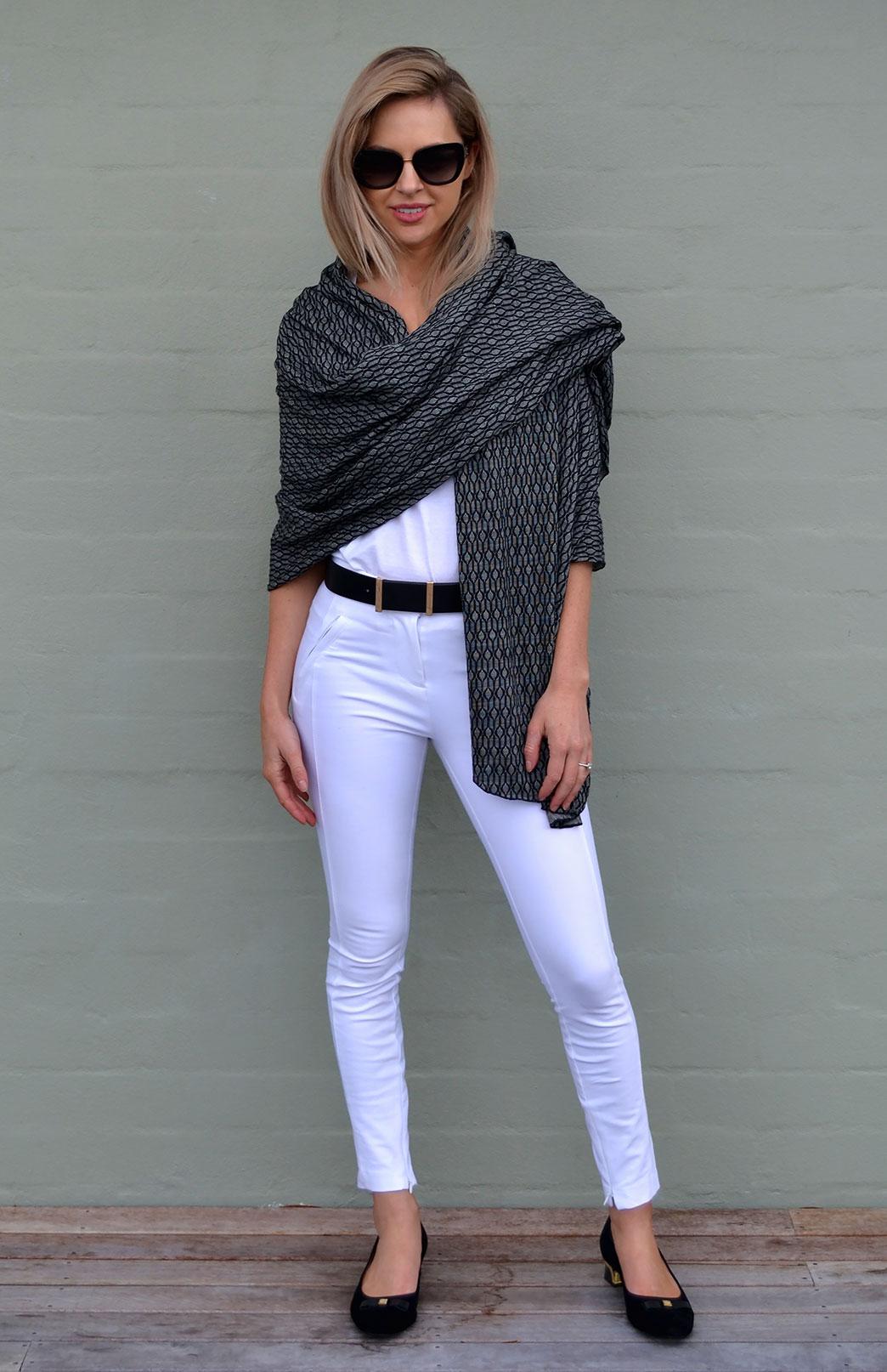 Patterned Wrap - Women's Superfine Merino Wool Patterned Wrap - Smitten Merino Tasmania Australia