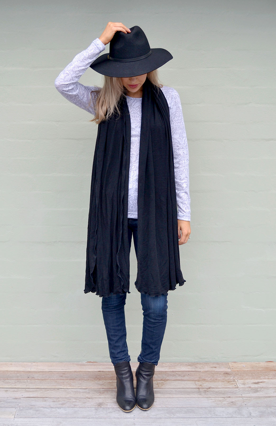 Scarves - Plain - Women's Superfine Black Merino Wool Classic Wide Scarf - Smitten Merino Tasmania Australia