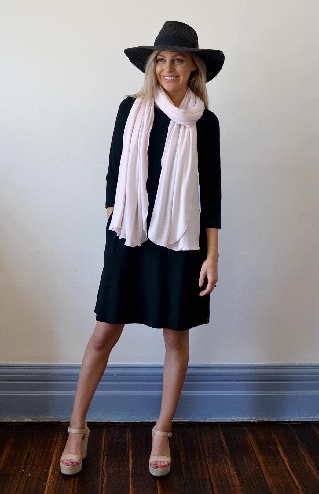 Scarves - Plain - Women's Superfine Blossom Pink Merino Wool Classic Wide Scarf - Smitten Merino Tasmania Australia