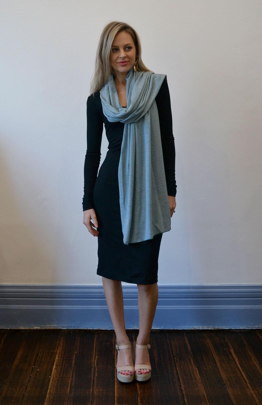 Scarves - Patterned - Women's Superfine Merino Wool Classic Wide Scarf - Smitten Merino Tasmania Australia