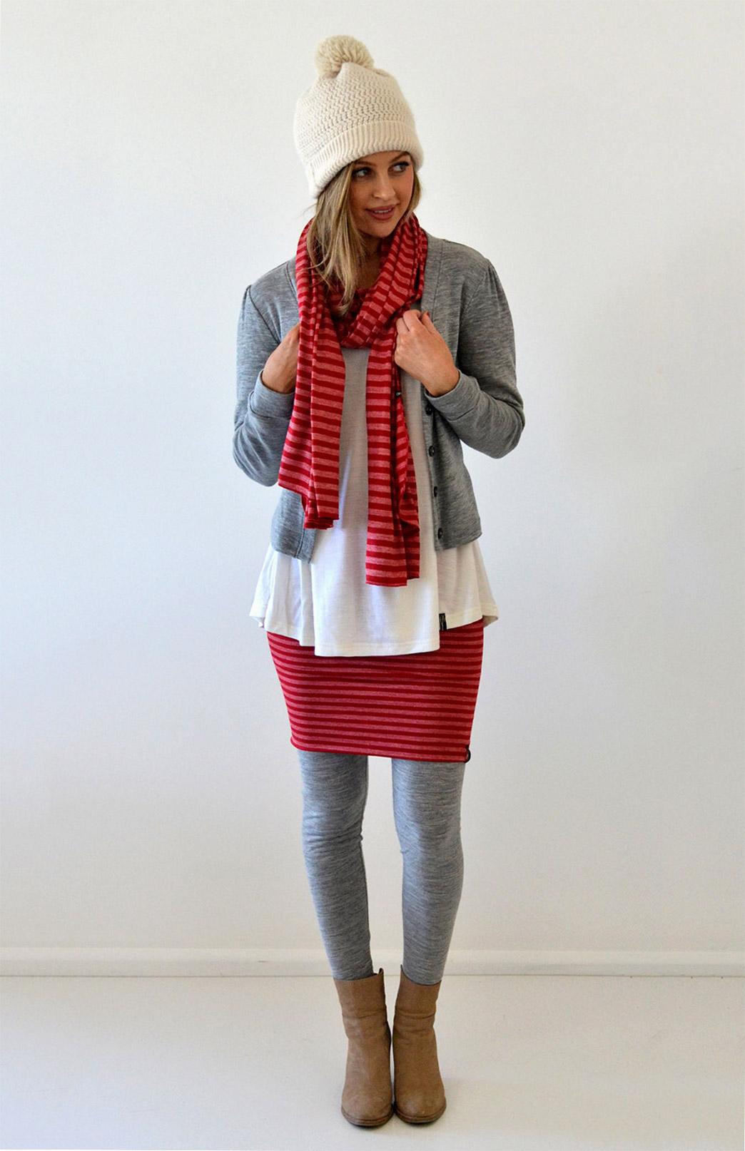 Scarves - Patterned - Women's Superfine Merino Wool & Modal Blend Classic Wide Scarf - Smitten Merino Tasmania Australia