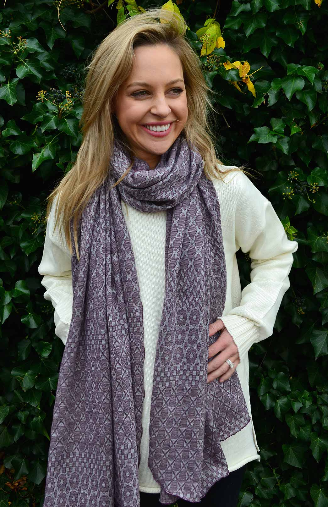 Patterned Wrap (Limited Edition) - Women's Superfine Merino Wool Patterned Wrap - Smitten Merino Tasmania Australia