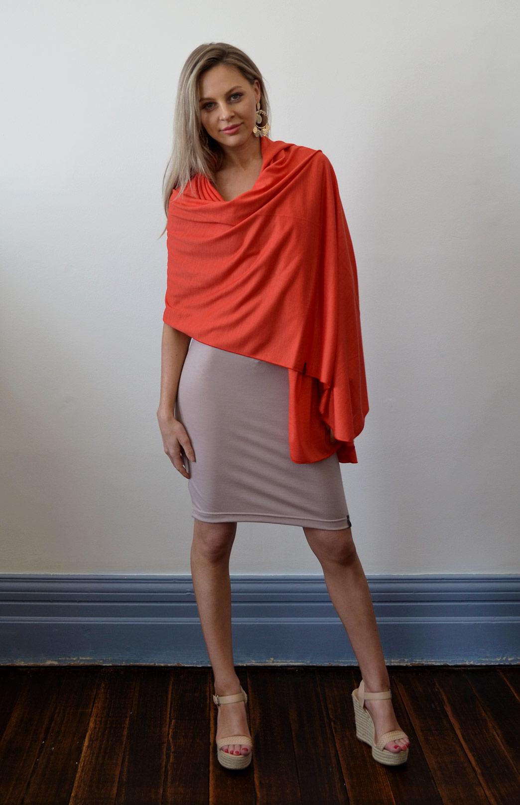 Scarves - Lightweight - Women's Superfine Merino Wool & Modal Blend Classic Wide Scarf - Smitten Merino Tasmania Australia