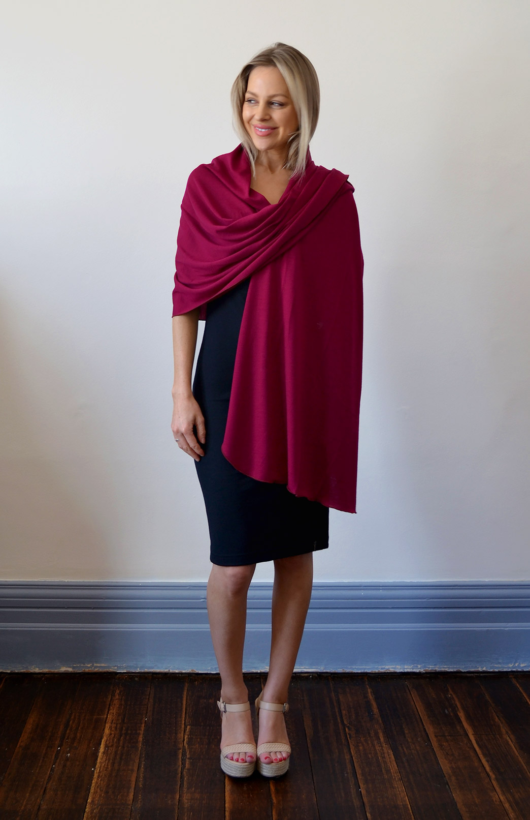 Heavyweight Wrap - Women's Superfine Merino Wool Classic Wide Scarf - Smitten Merino Tasmania Australia