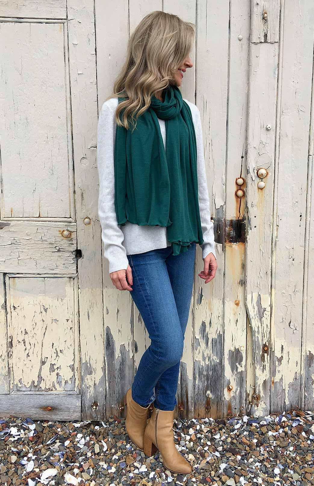 Scarves - Plain - Women's Superfine Green Merino Wool Classic Wide Scarf - Smitten Merino Tasmania Australia
