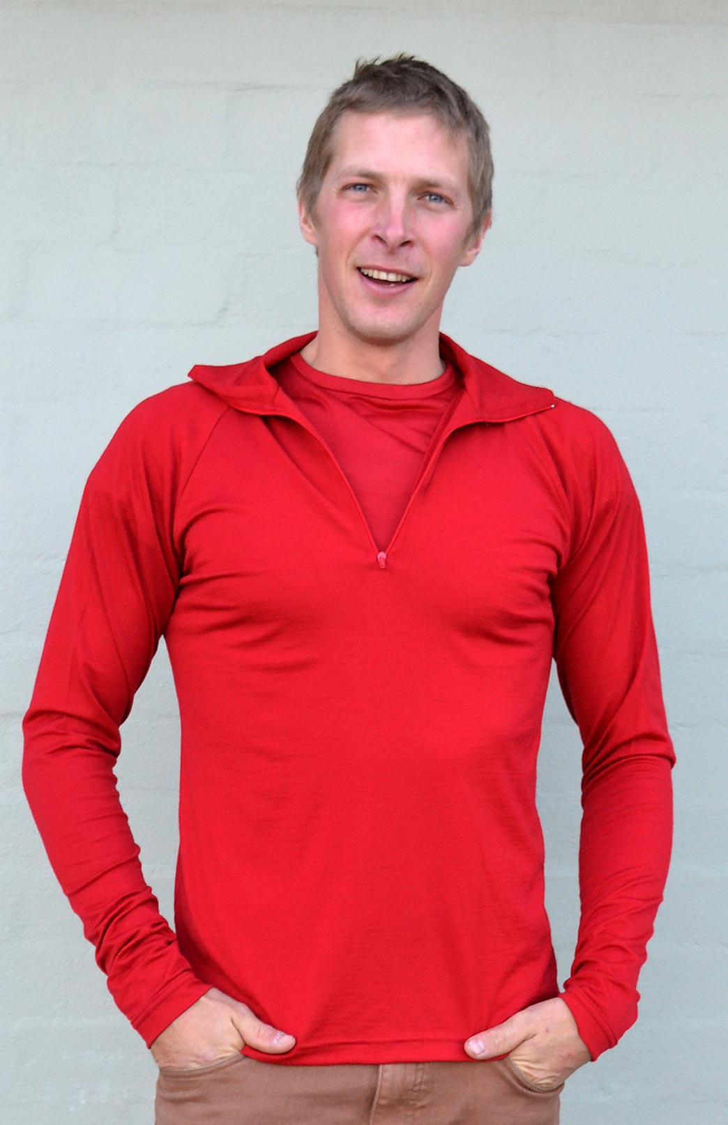 Zip Neck Top - Mid-weight (~200g) - Men's Flame Red Mid-weight Merino Wool Thermal Top with Zip Neck and Thumb Holes for Kayaking and Bush Walking - Smitten Merino Tasmania Australia