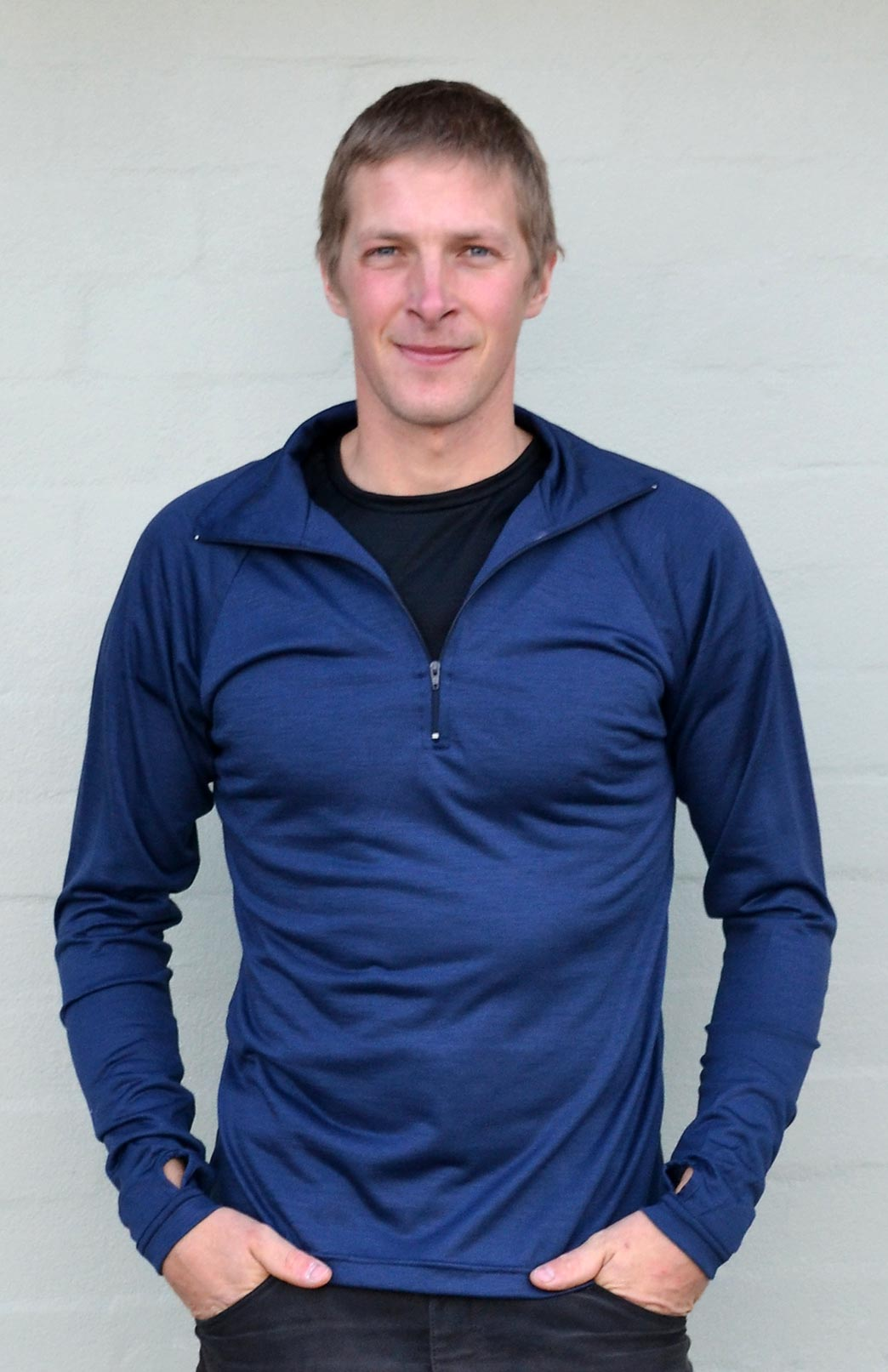 Zip Neck Top - Lightweight (~170g) - Men's Dark Indigo Blue Pure Merino Wool Zip Neck Pull Over Top with Thumb Holes - Smitten Merino Tasmania Australia