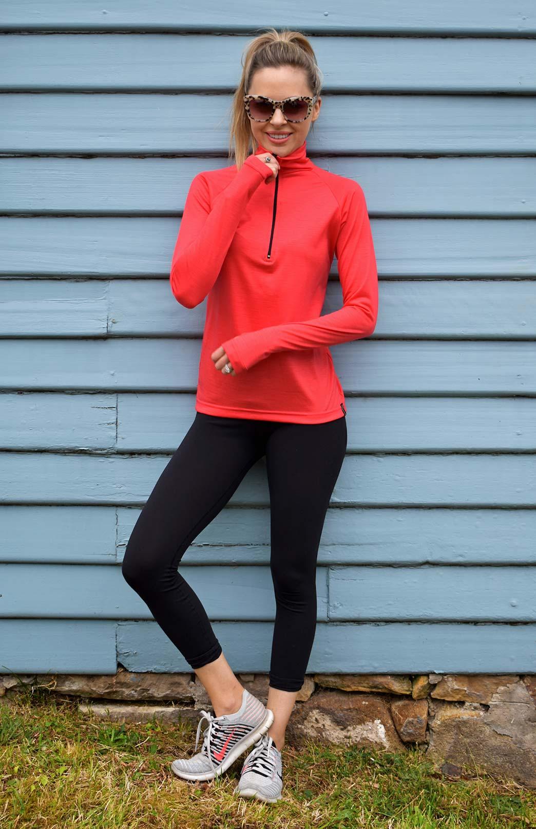 Zip Neck Top - Ultralight (170g) - Women's Hot Coral Ultralight Wool Zip Neck Pullover Style Top with Thumb Holes - Smitten Merino Tasmania Australia