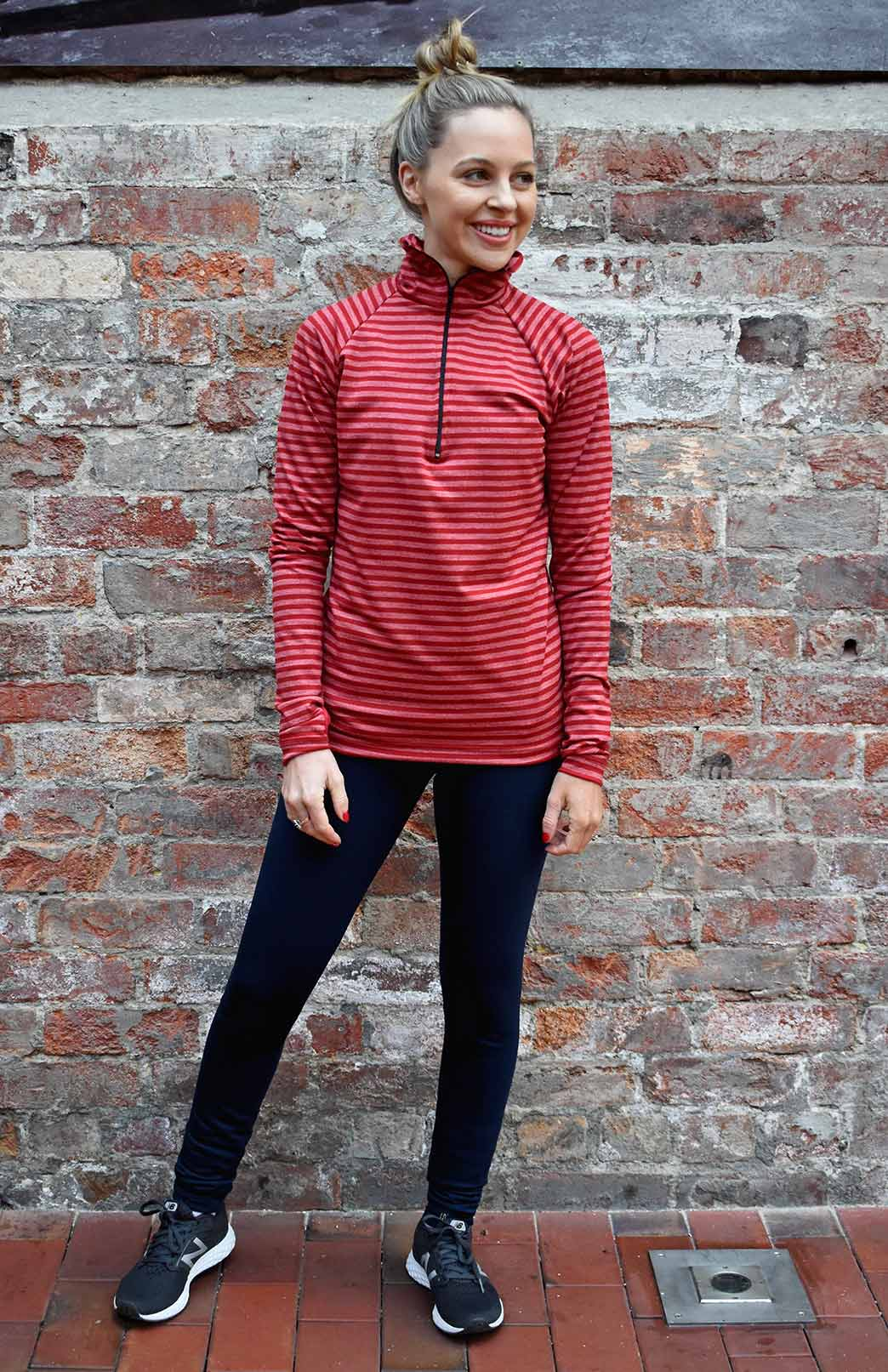 Zip Neck Top - Midweight (220g) - Women's Flame Striped Wool Zip Neck Pullover Top with collar - Smitten Merino Tasmania Australia