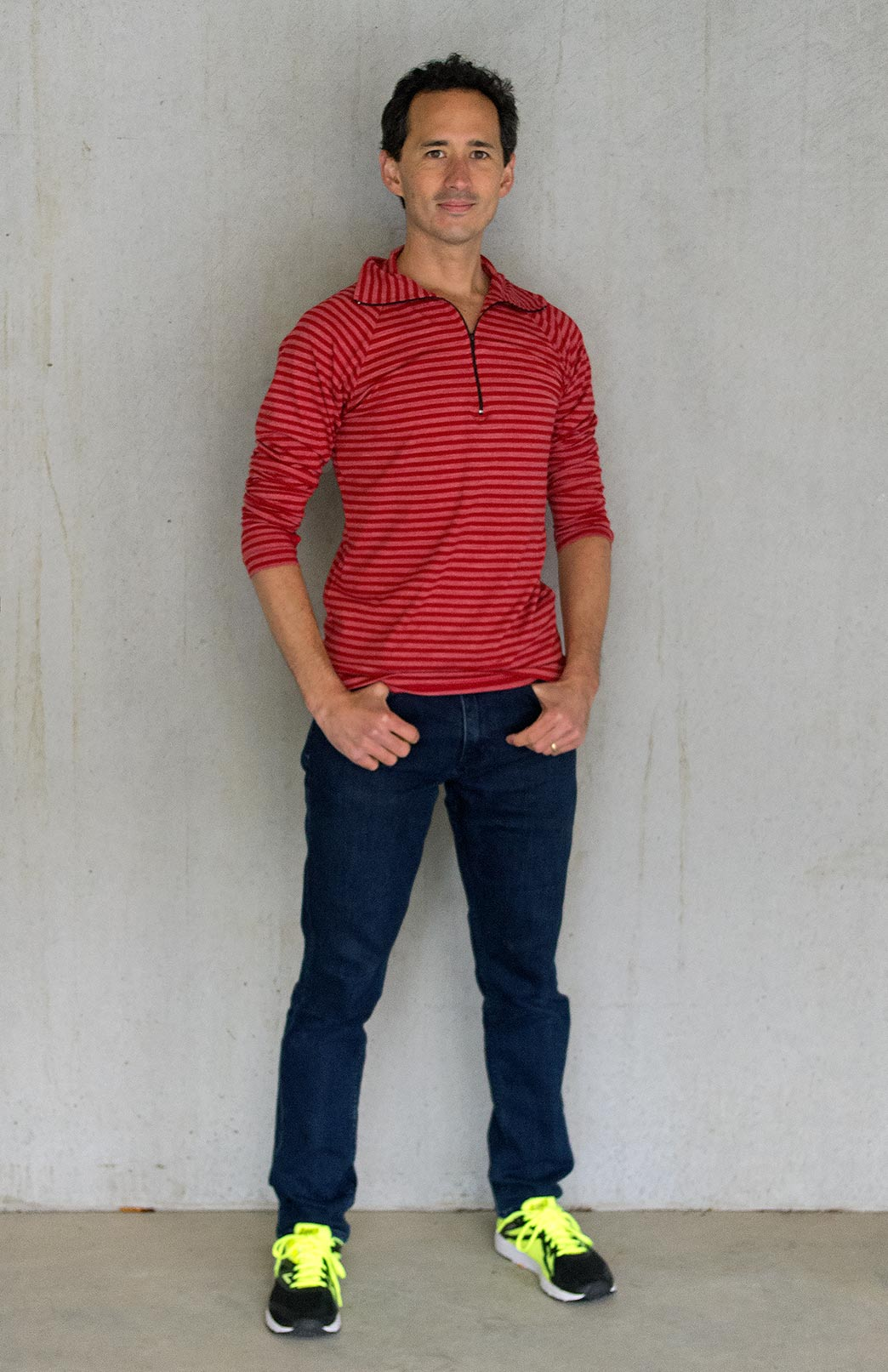 Zip Neck Top - Mid-Weight (~220g) - Men's Flame Stripe Mid-Weight Merino Wool Long Sleeved Zip Neck Top with Thumb Holes for Layering with Thermals - Smitten Merino Tasmania Australia