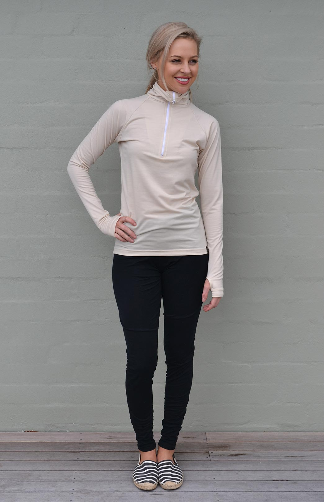 Zip Neck Top - Midweight (200g) - Women's Cream Zip Neck Pull Over Style Top with thumb holes - Smitten Merino Tasmania Australia