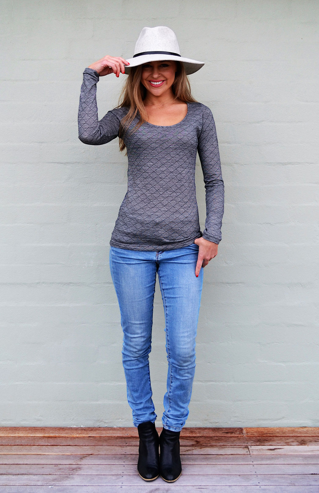 Scoop Neck Top - Patterned - Women's Black Grey Patterned Merino Wool Long Sleeved Thermal Top with Scoop Neckline - Smitten Merino Tasmania Australia