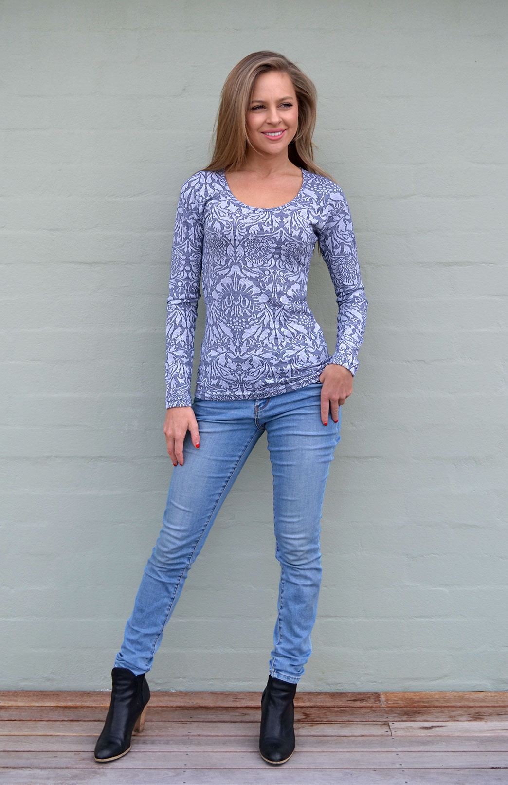 Scoop Neck Top - Patterned - Women's Blue and Grey Floral Merino Wool Long Sleeved Thermal Top with Scoop Neckline - Smitten Merino Tasmania Australia