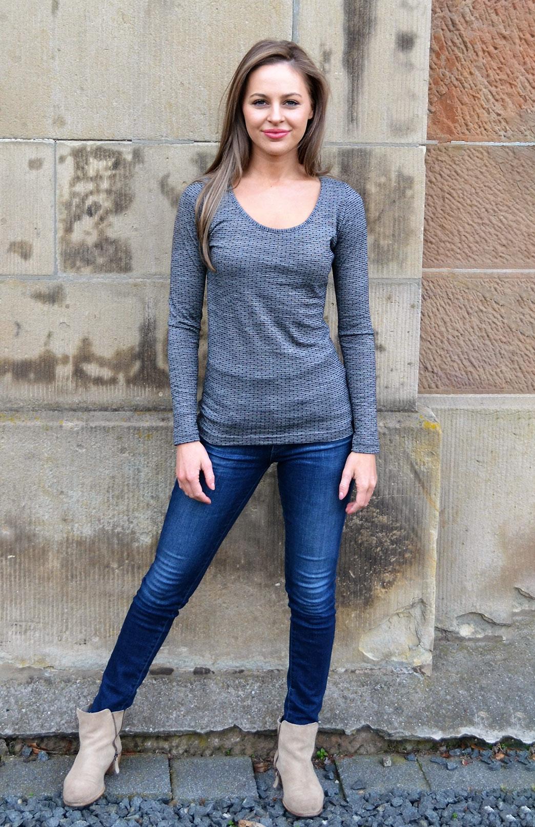 Scoop Neck Top - Patterned - Women's Black Grey Spot Patterned Merino Wool Long Sleeved Thermal Top with Scoop Neckline - Smitten Merino Tasmania Australia