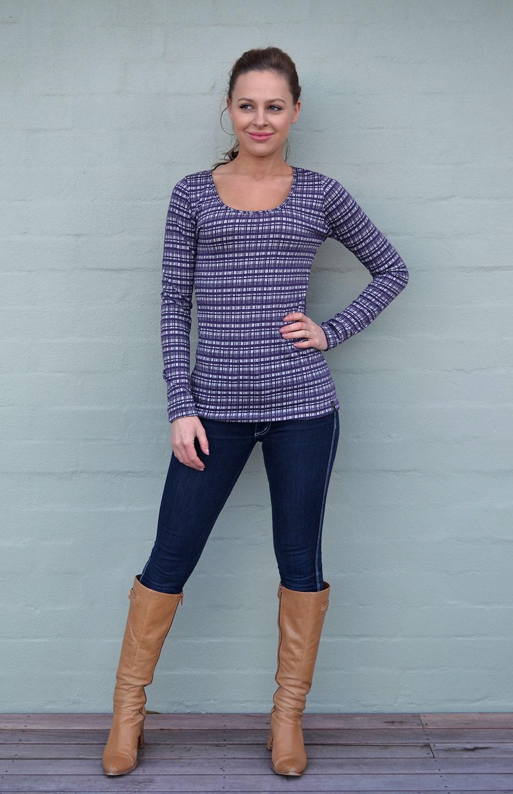 Patterned Scoop Top - Women's Grape Check Patterned Merino Modal Blend Long Sleeve Top - Smitten Merino Tasmania Australia
