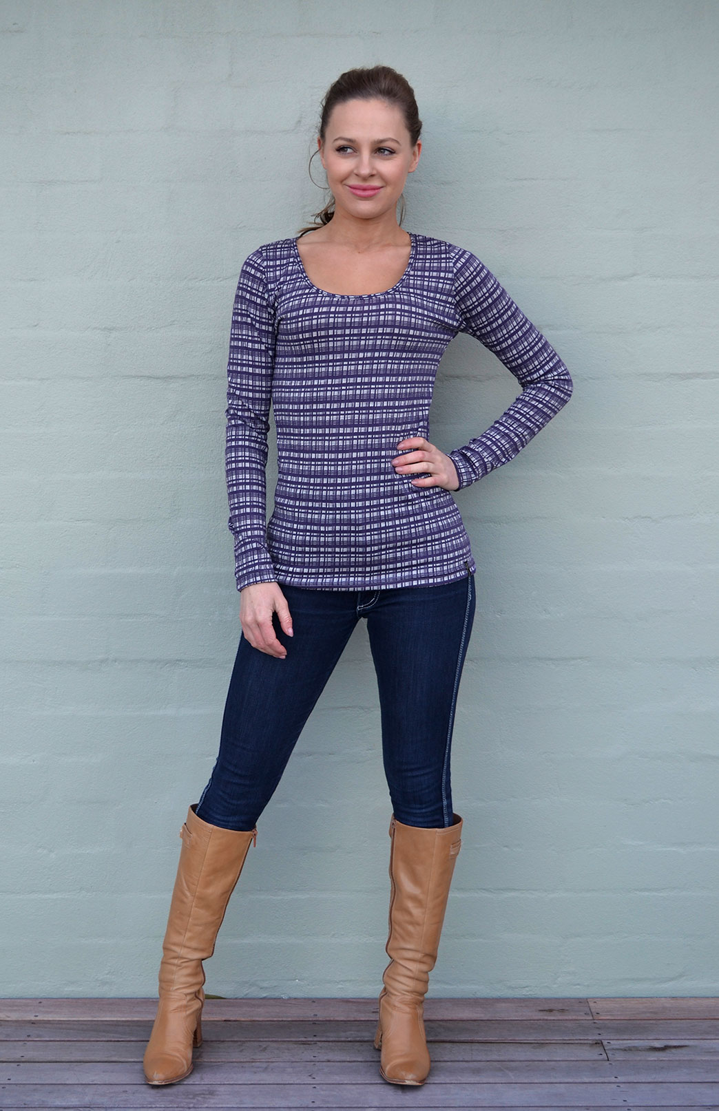 Patterned Scoop Top - Women's Grape Check Patterned Merino Modal Blend Long Sleeve Top - Smitten Merino Tasmania Australia