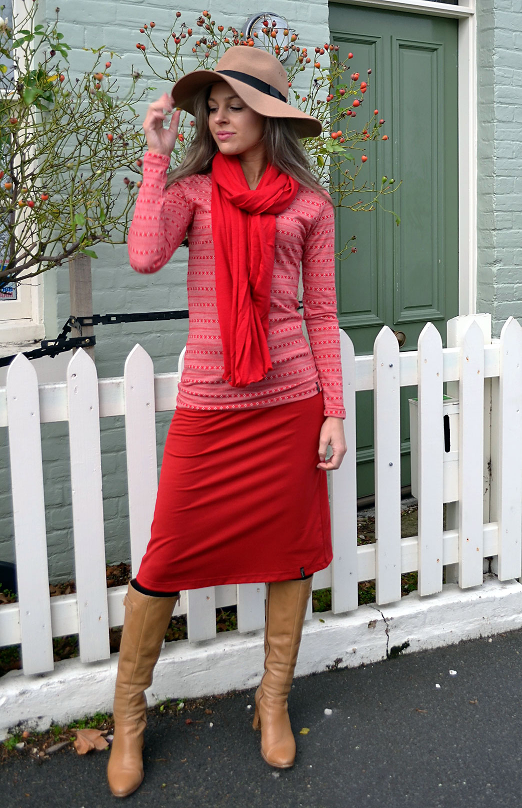 Scoop Neck Top - Patterned - Women's Red Patterned Merino Wool Long Sleeved Thermal Top with Scoop Neckline - Smitten Merino Tasmania Australia